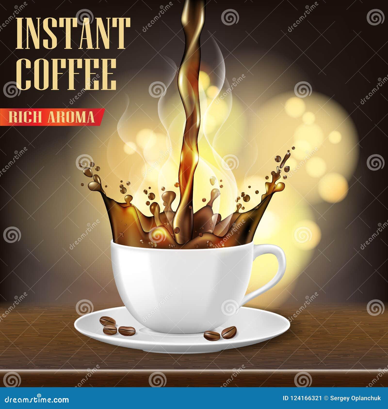 La taza de café del Arabica del aroma y los anuncios negros de las habas diseñan ejemplo 3d del producto caliente de la taza de c