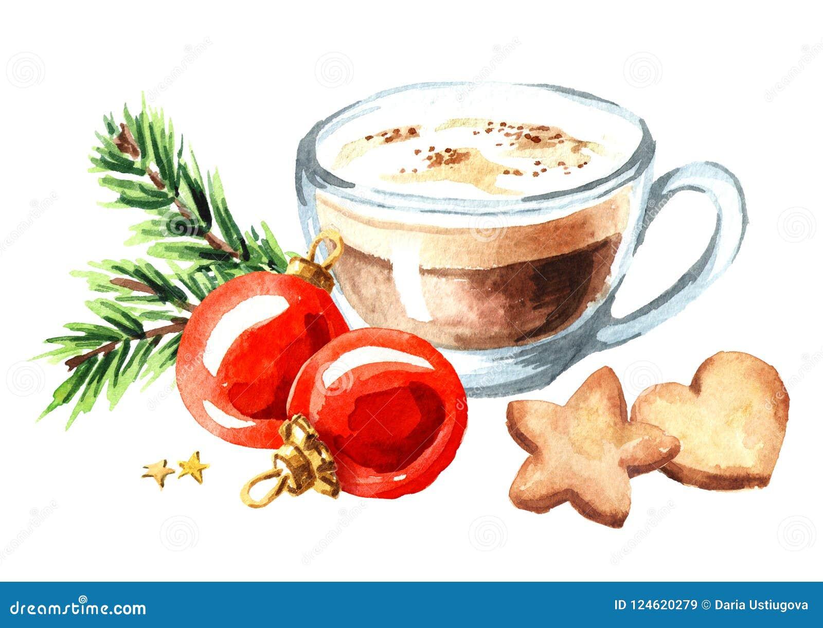La taza de capuchino del café con las galletas de la Navidad y las bolas rojas con el abeto verde ramifican Acuarela o aislado ej
