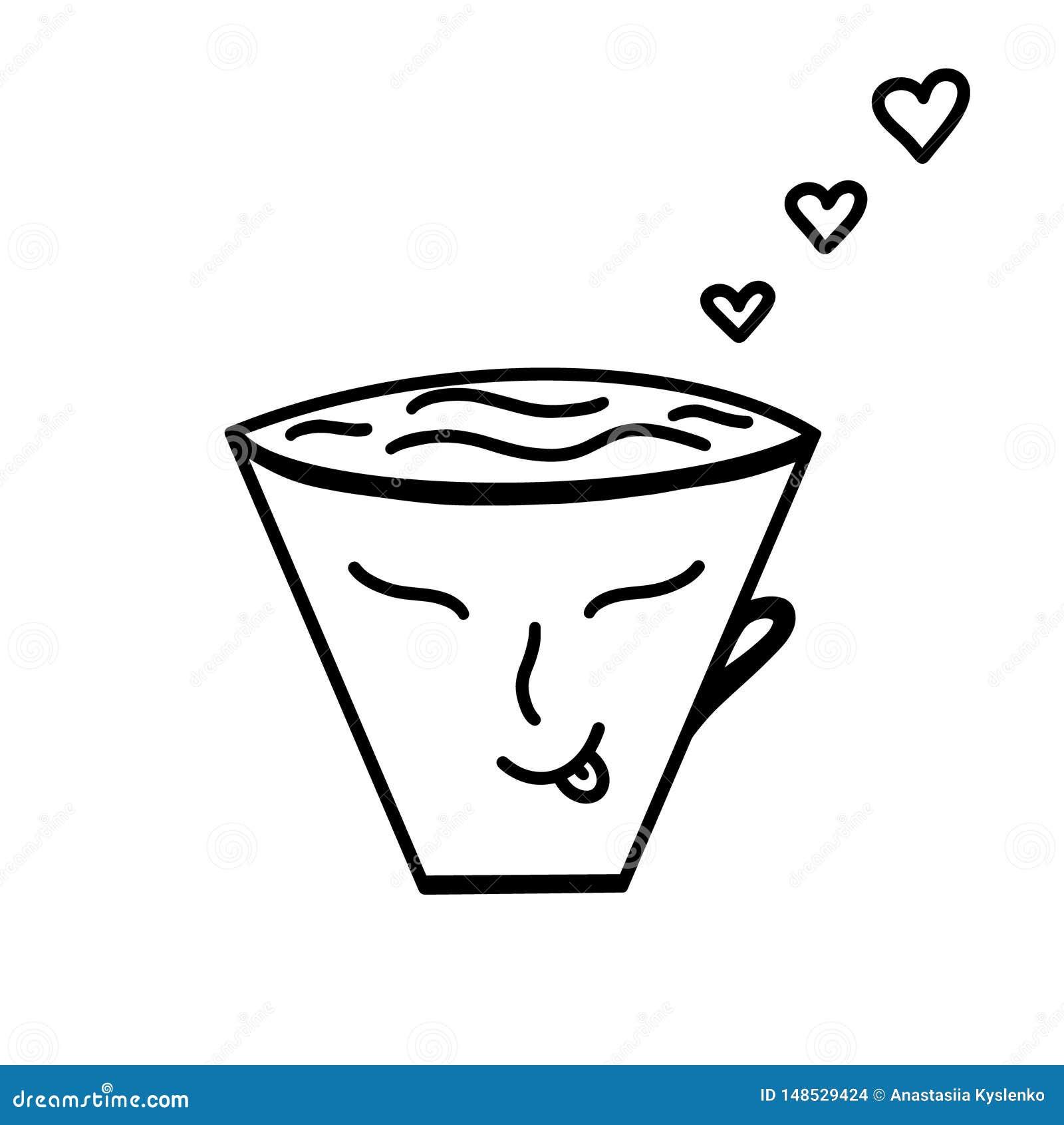 La taza del vector del café, té con los corazones Buda hace frente La mono línea decoración handdrawn del amor de día de San Vale