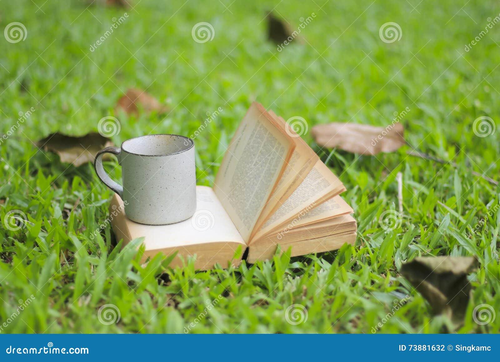 La taza y los libros de café en la hierba verde en verano parquean