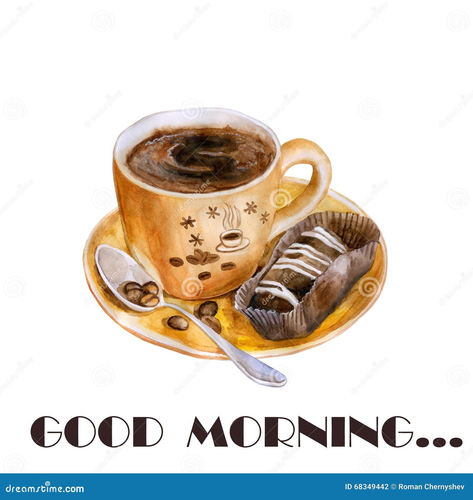 La tazza di caffè calda dell acquerello, il brownie, dolce, ha arrostito i chicchi di caffè ed il cucchiaio accurati, disegno det