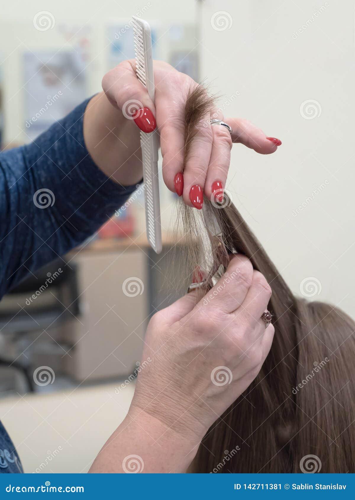 La Technique De Couper Des Cheveux Avec Des Ciseaux Image Stock Image Du Technique Ciseaux 142711381