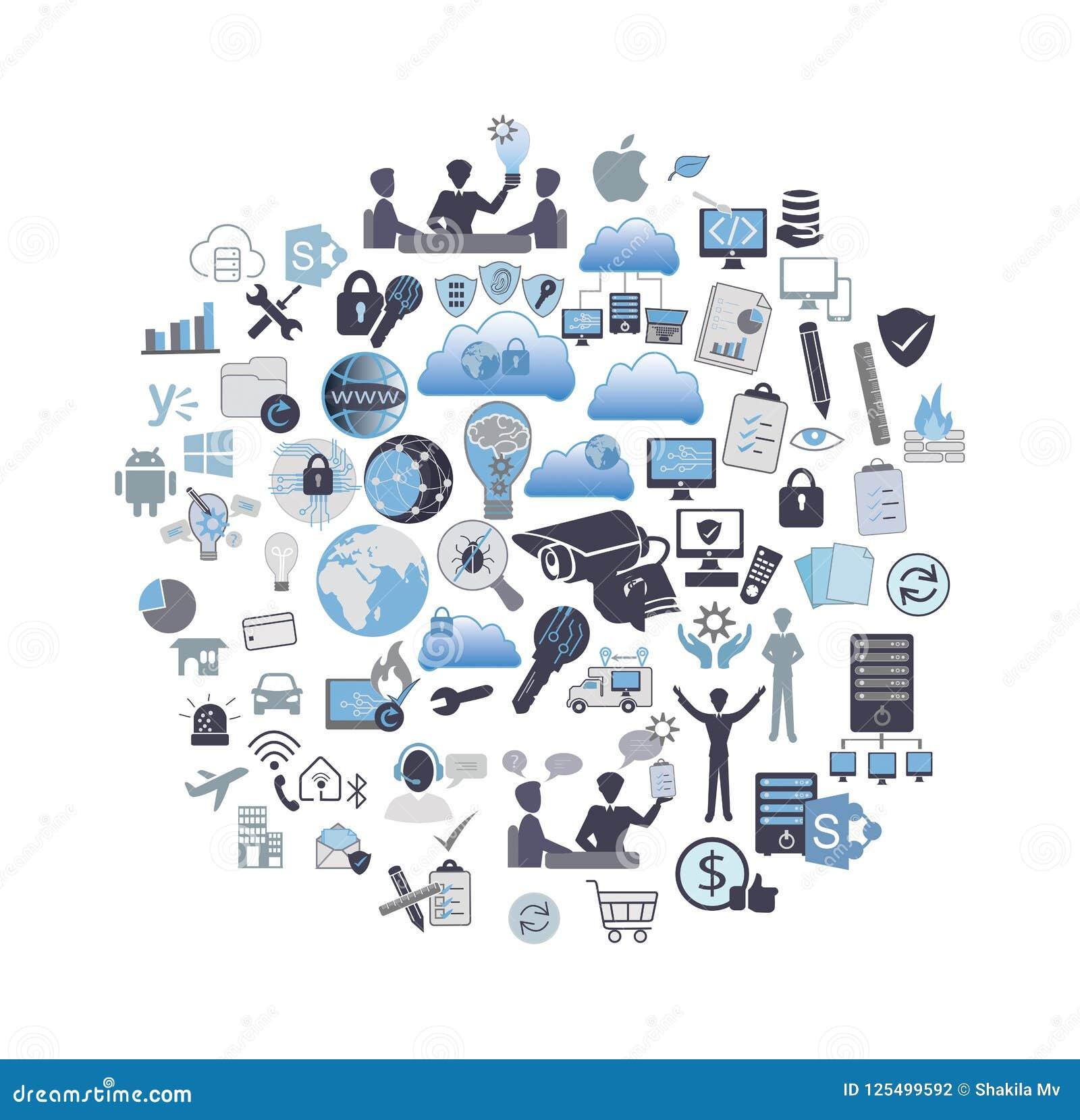 La technologie de l information a rapporté l ensemble d icône
