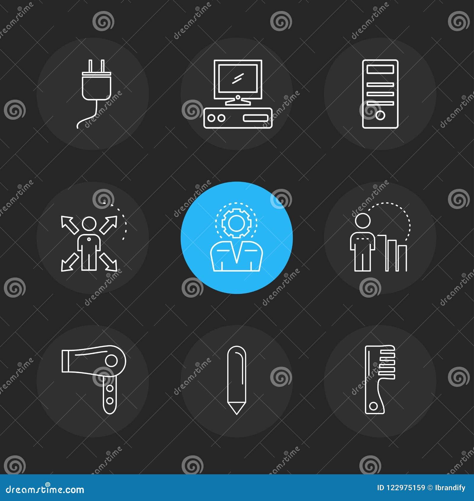 La technologie, icônes, l électronique, icônes d ENV a placé le vecteur