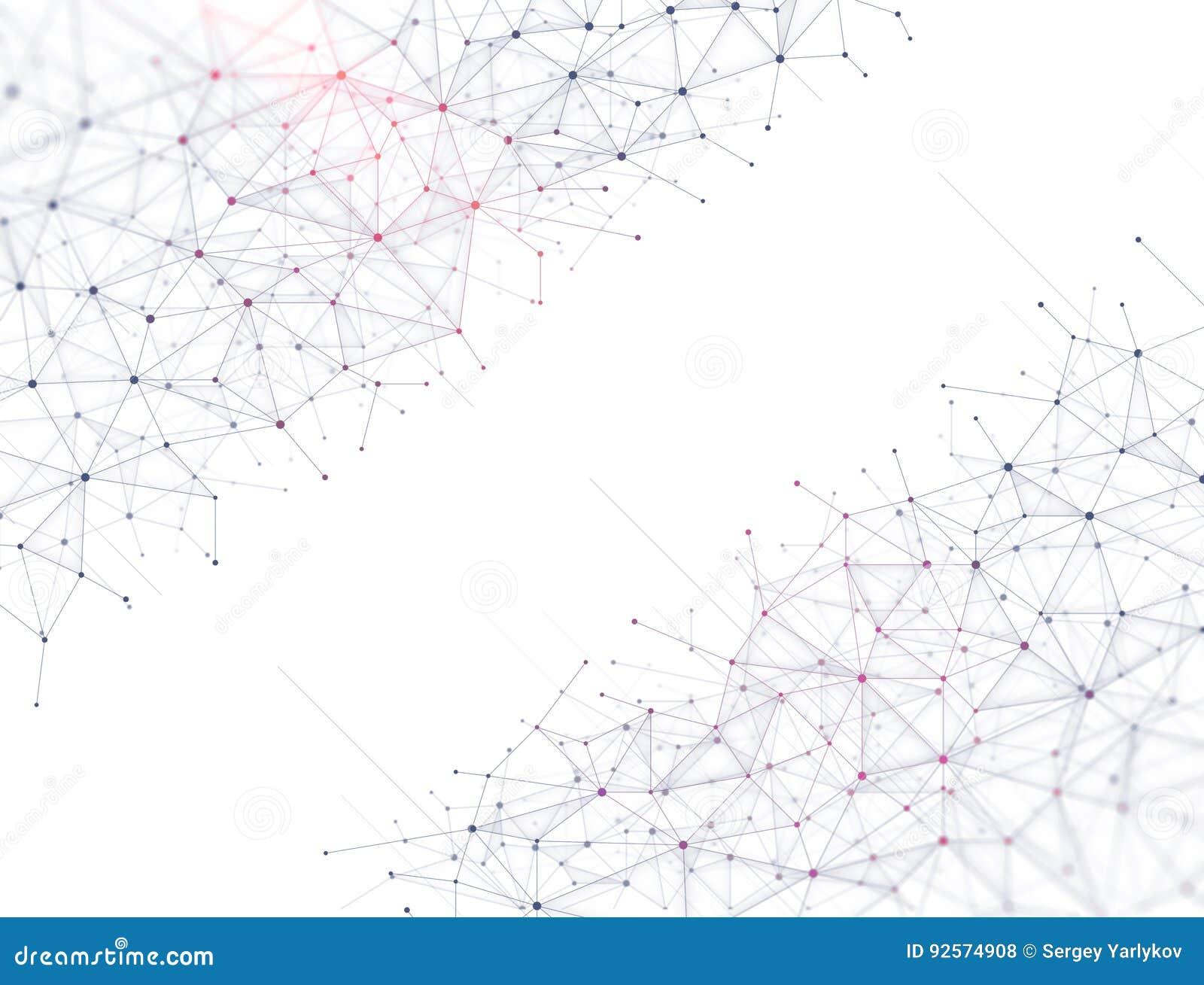 La tecnologia astratta collega il fondo - punti e linee porpora - molecole