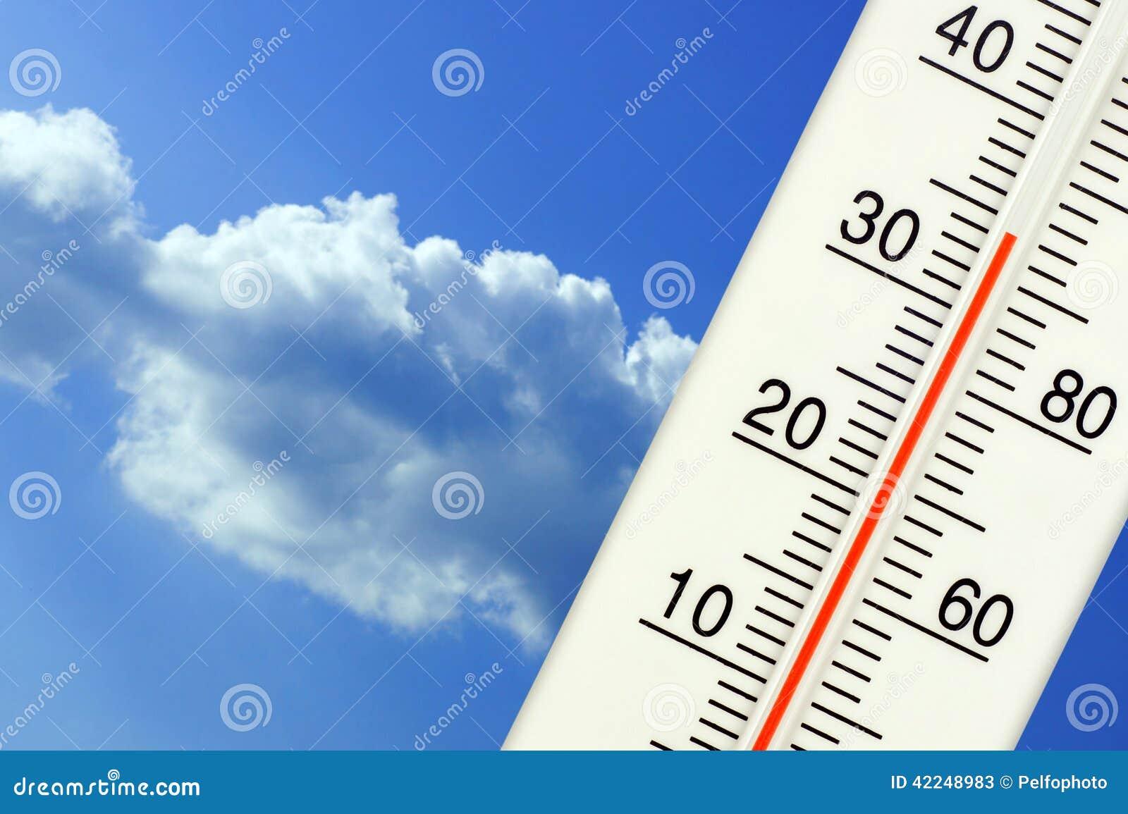 La température extérieure tropicale sur le thermomètre