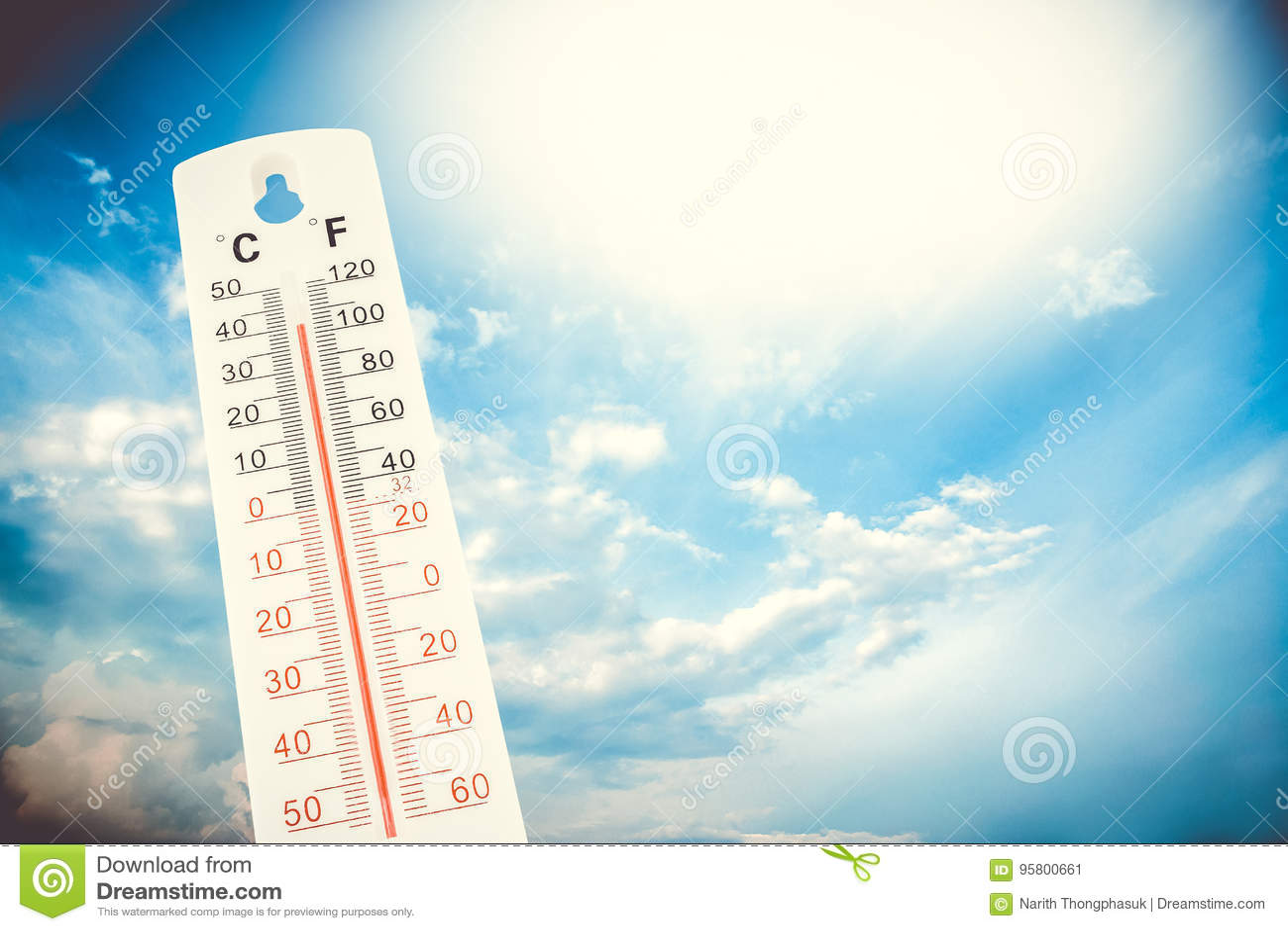 La température tropicale, mesurée sur un thermomètre extérieur, vague de chaleur globale