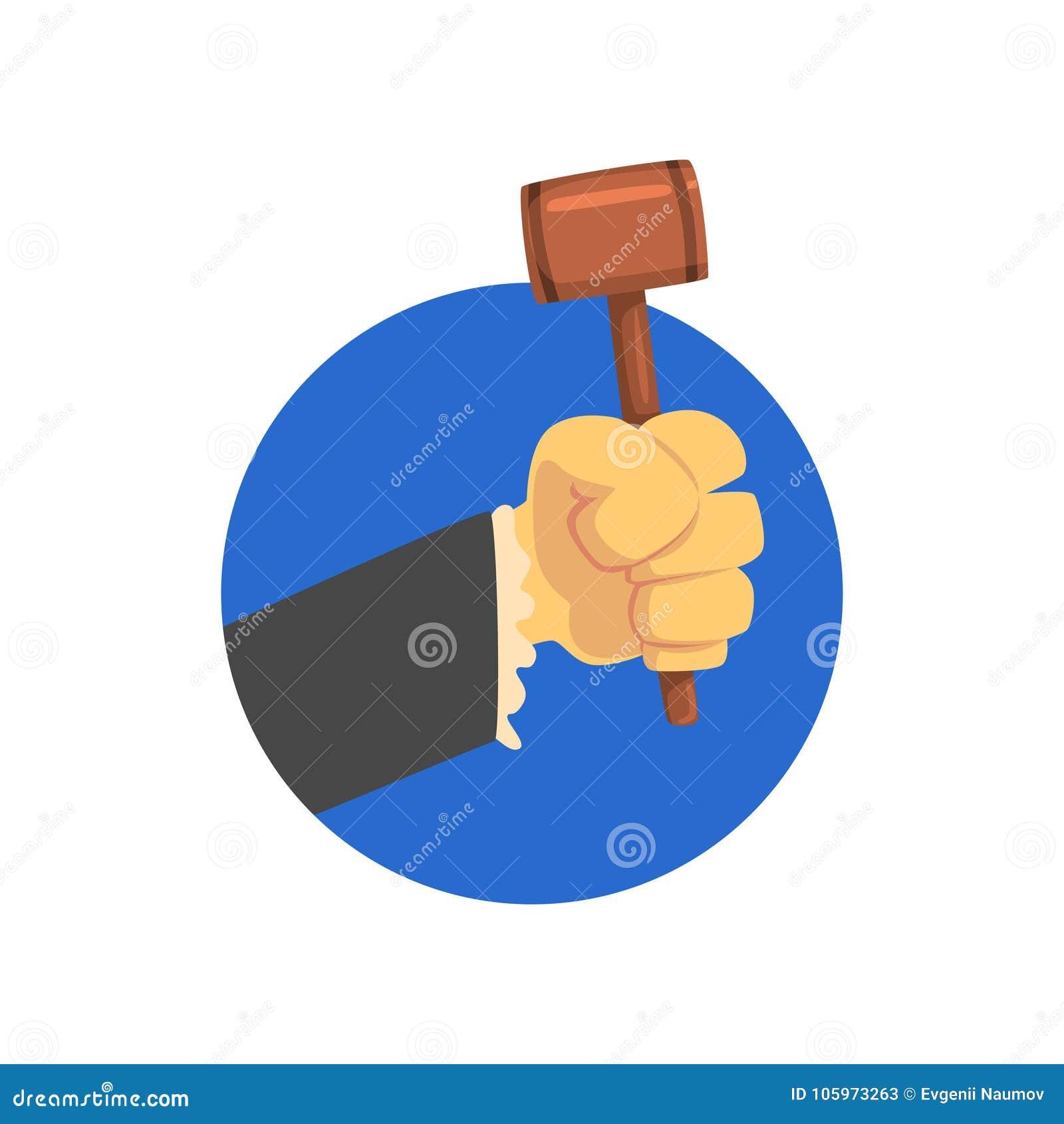 La tenencia de la mano juzga el mazo, el martillo de madera del juez o el ejemplo del vector de la historieta del subastador
