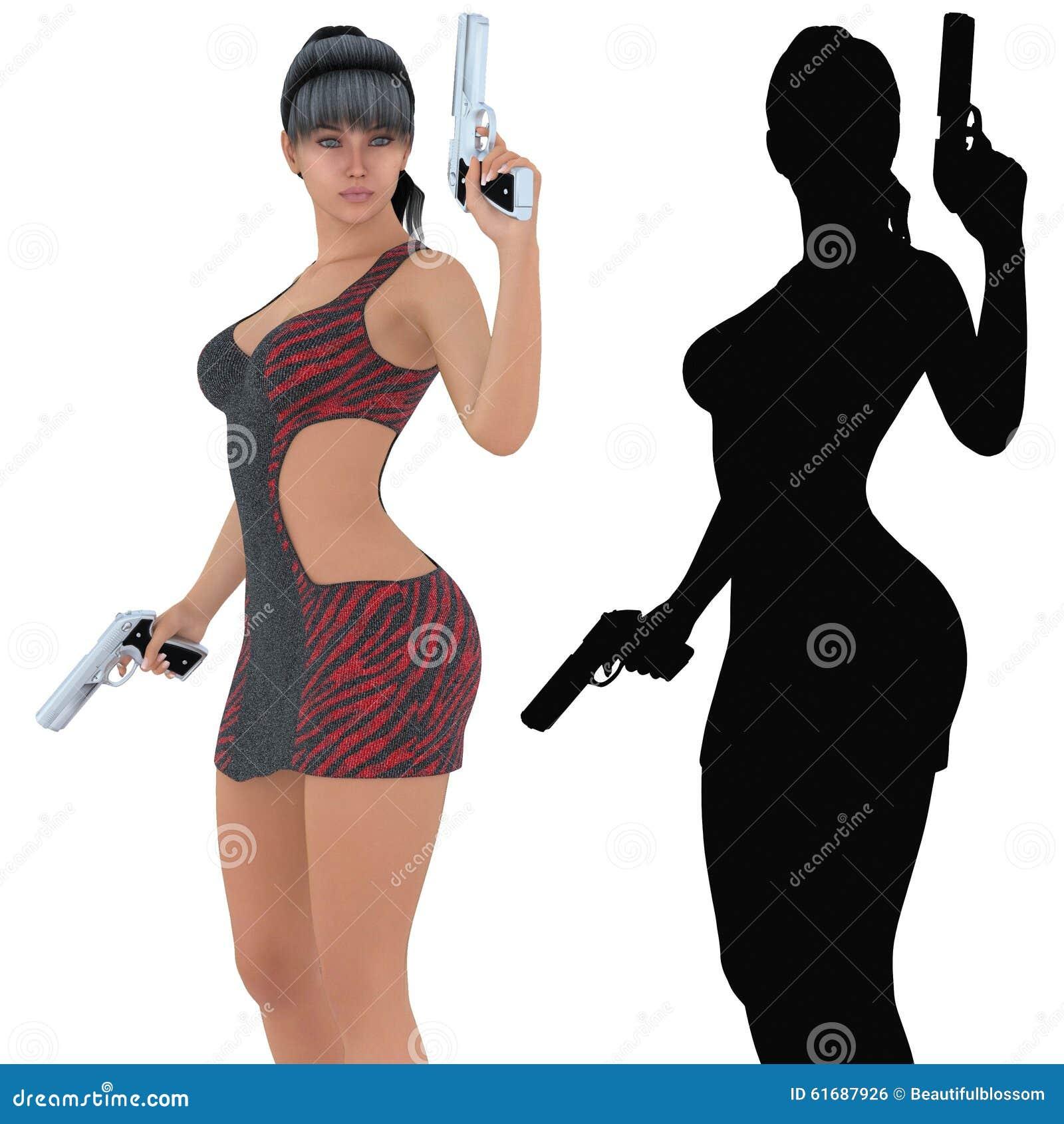 La tenuta della donna ha caricato le rivoltelle, l illustrazione digitalmente resa 3d