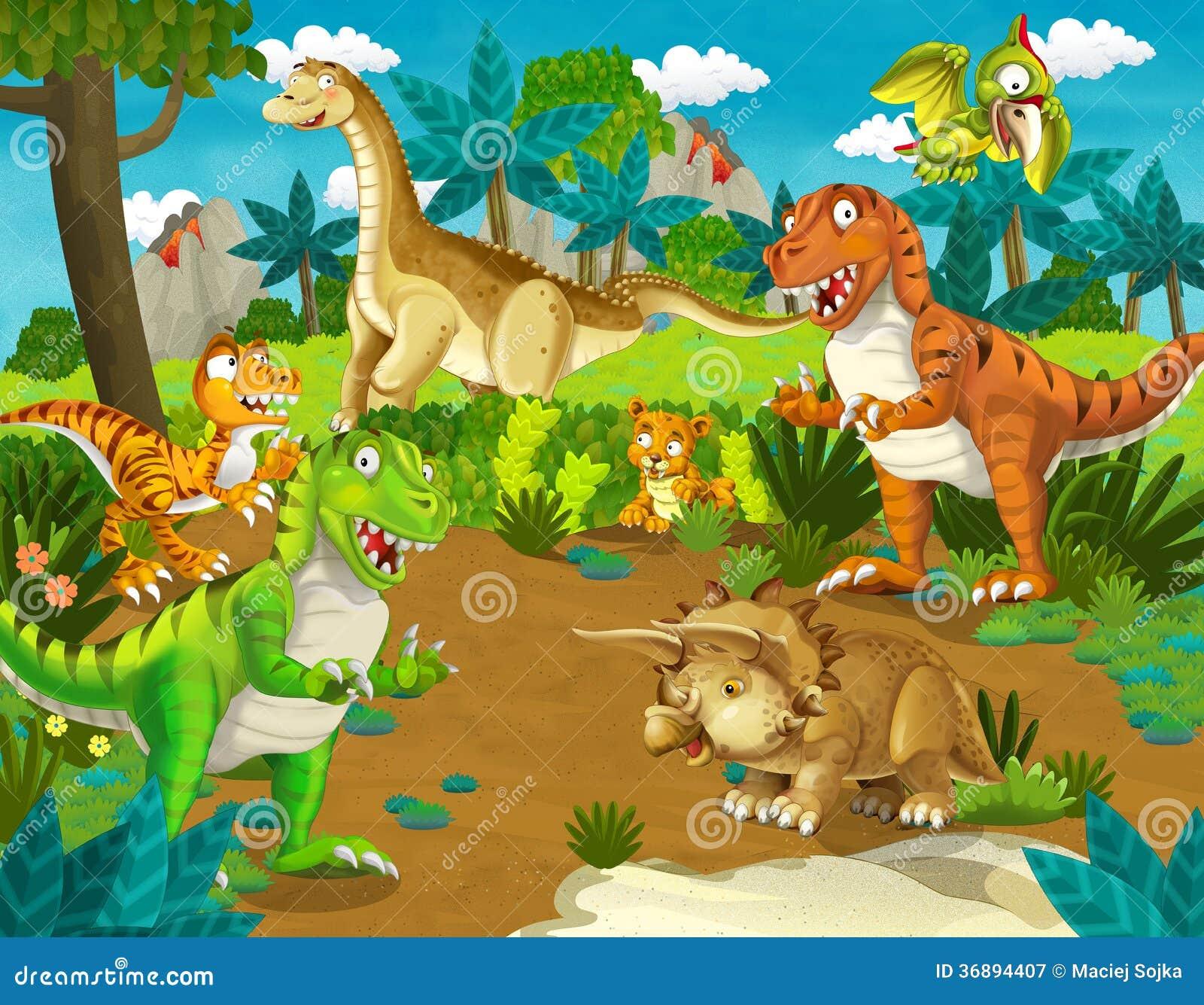 Download La Terra Del Dinosauro - Illustrazione Per I Bambini Illustrazione di Stock - Illustrazione di estinto, terra: 36894407