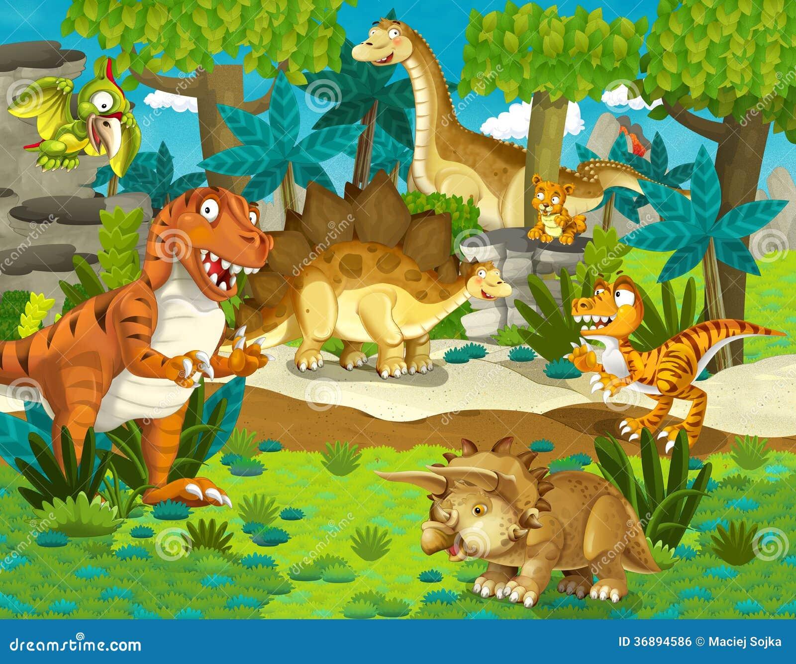 Download La Terra Del Dinosauro - Illustrazione Per I Bambini Illustrazione di Stock - Illustrazione di fumetto, arte: 36894586