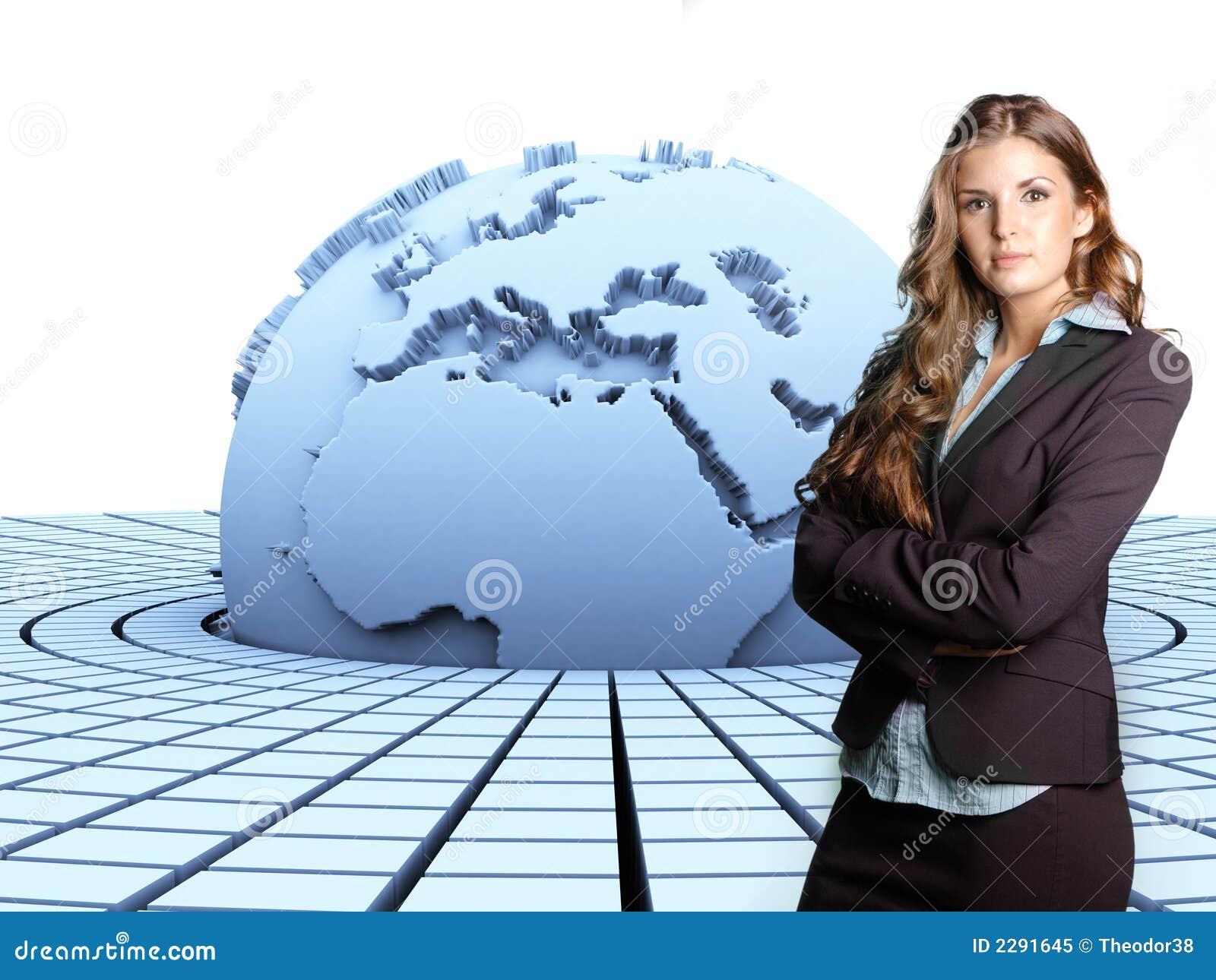 La terre 3d et femme d affaires