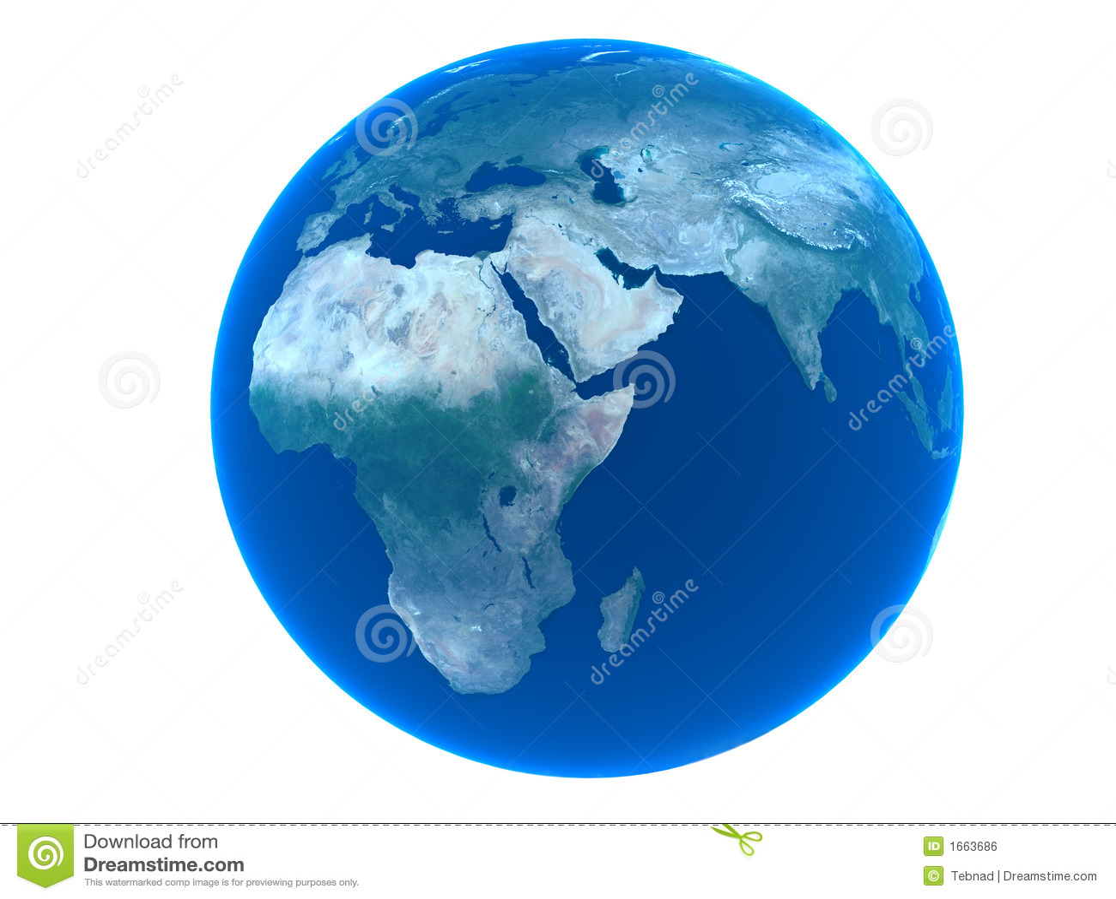 La terre au-dessus du fond blanc