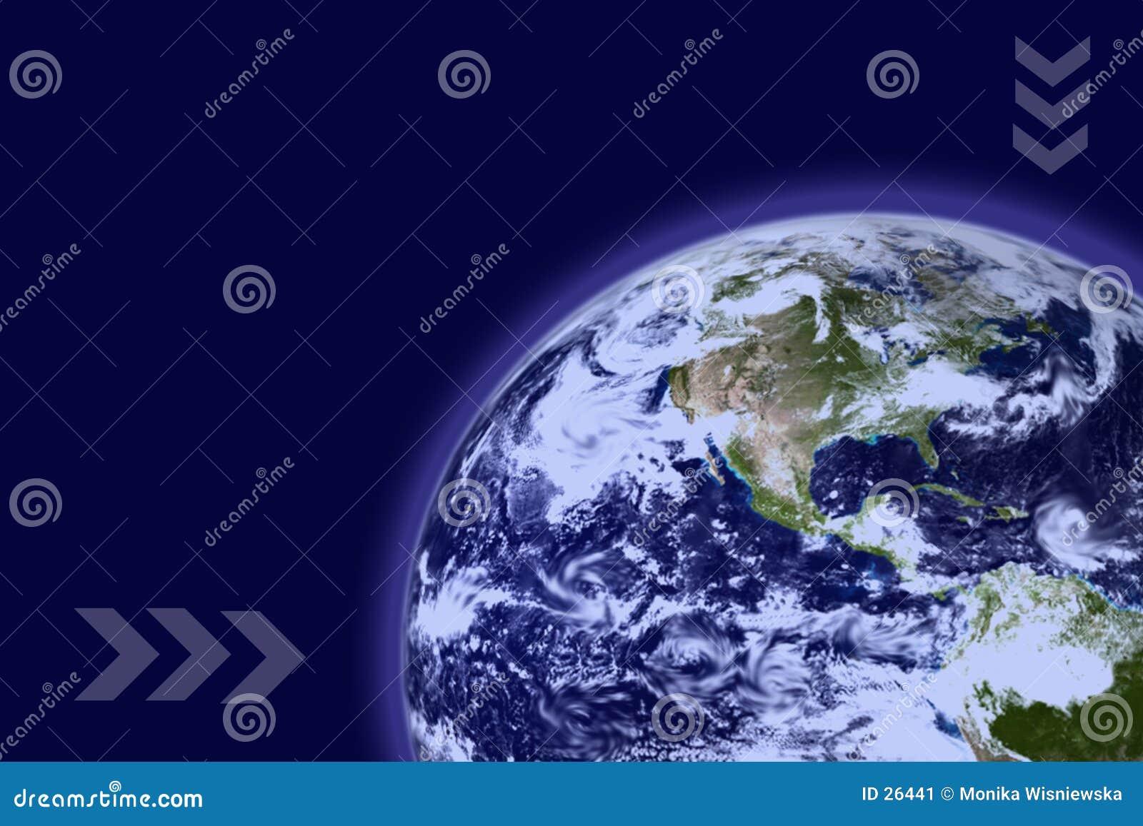 La terre avec l atmosphère bleue