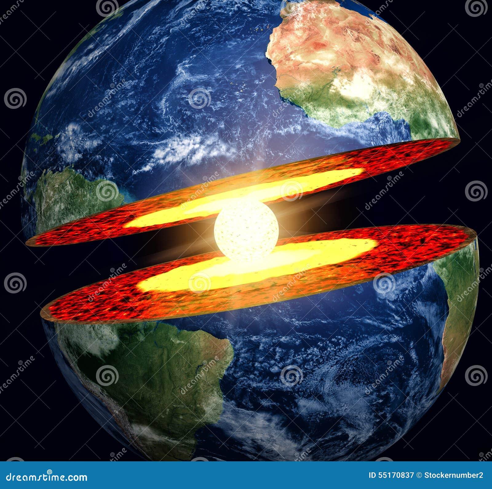 La terre coup e avec le noyau de fer vident illustration for Les decoratives brut de terre