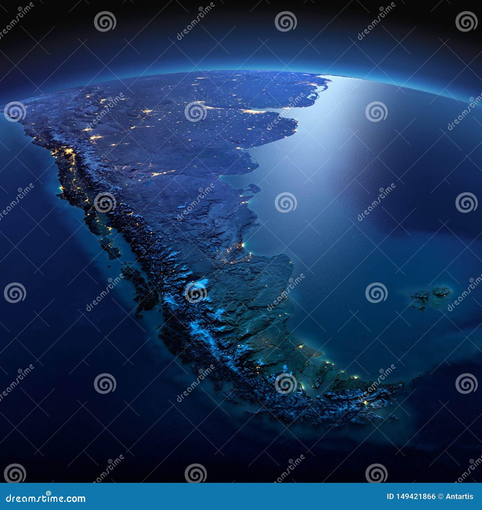 La terre d?taill?e beau chiffre dimensionnel illustration trois du sud de 3d Am?rique tr?s Tierra del Fuego une nuit ?clair?e par