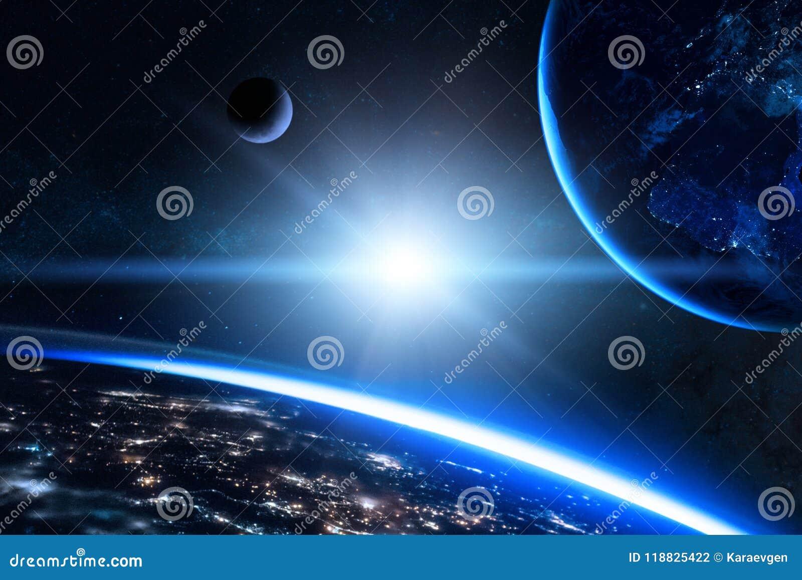 La terre dans l espace extra-atmosphérique avec la belle planète Lever de soleil bleu