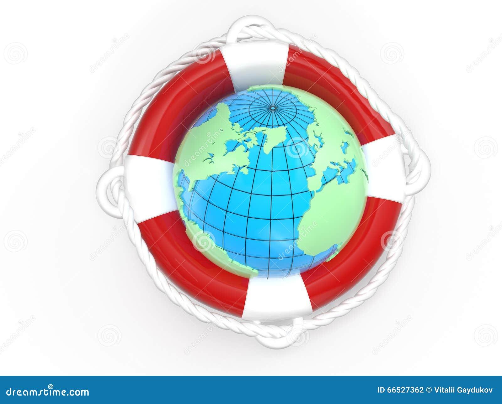 La terre de bouée de sauvetage et de globe