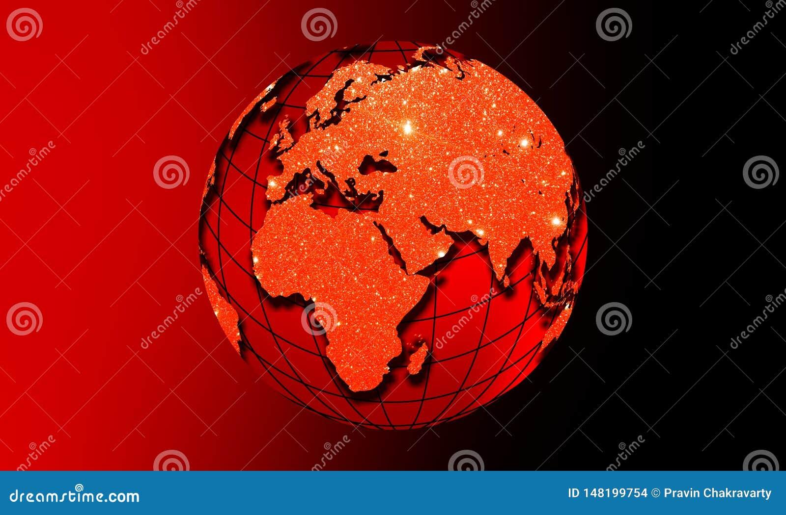 La terre de globe du monde avec l effet de scintillement Concept d affaires de t?l?communications mondiales Image color?e parultr