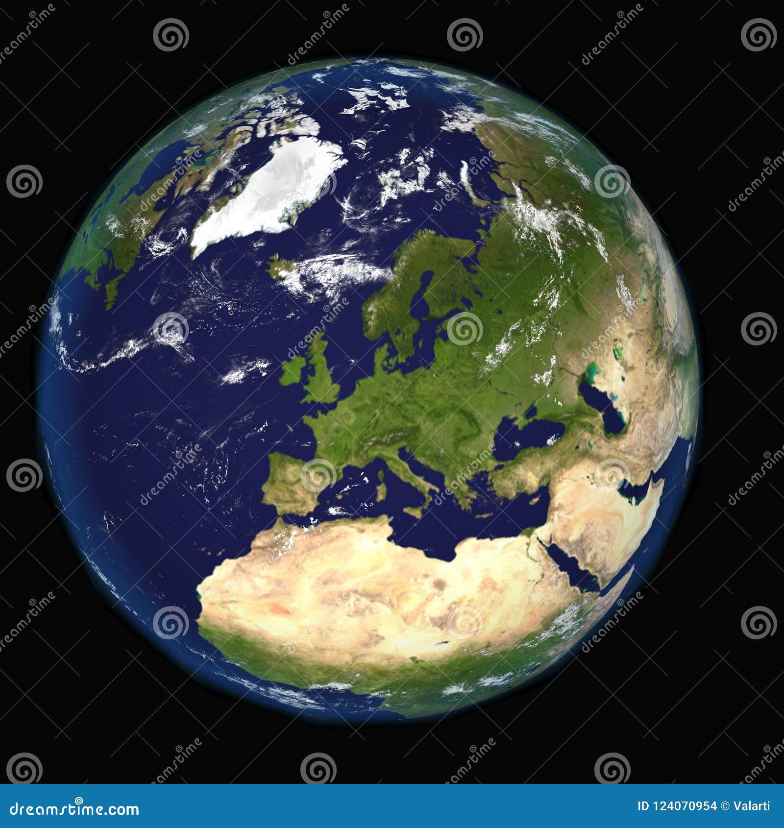 La terre de l espace montrant l Europe et l Afrique Image extrêmement détaillée, y compris des éléments meublés par la NASA D aut