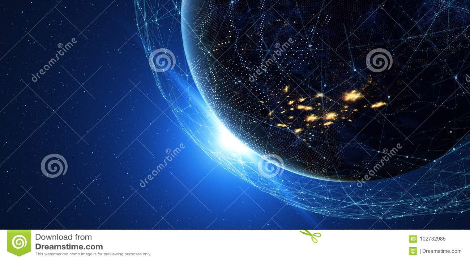 La terre de l espace la nuit avec un système de communication numérique 3