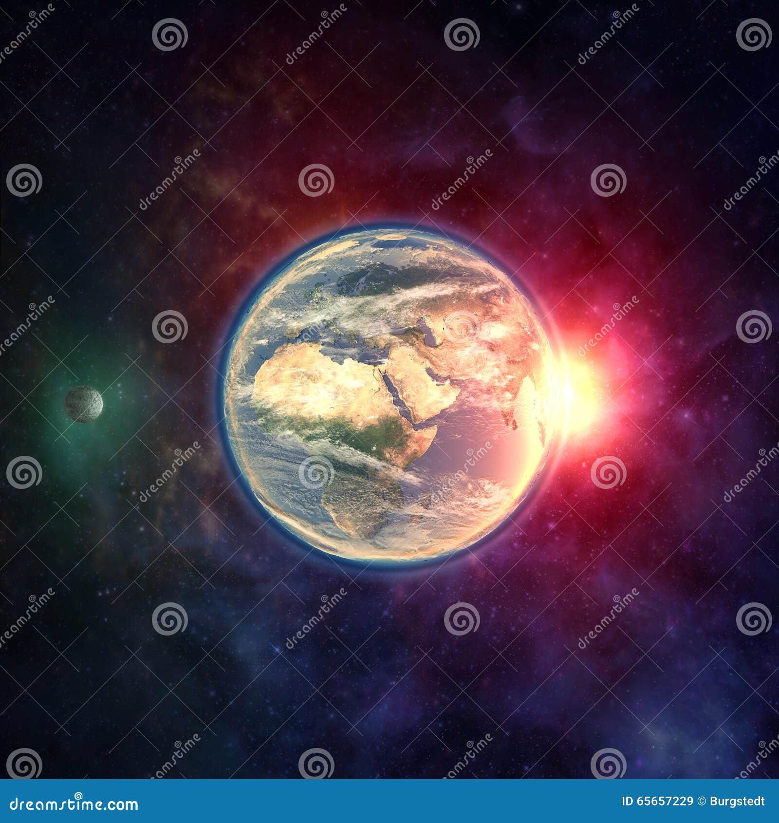 La terre de planète dans l espace extra-atmosphérique avec la lune, l atmosphère et la lumière du soleil