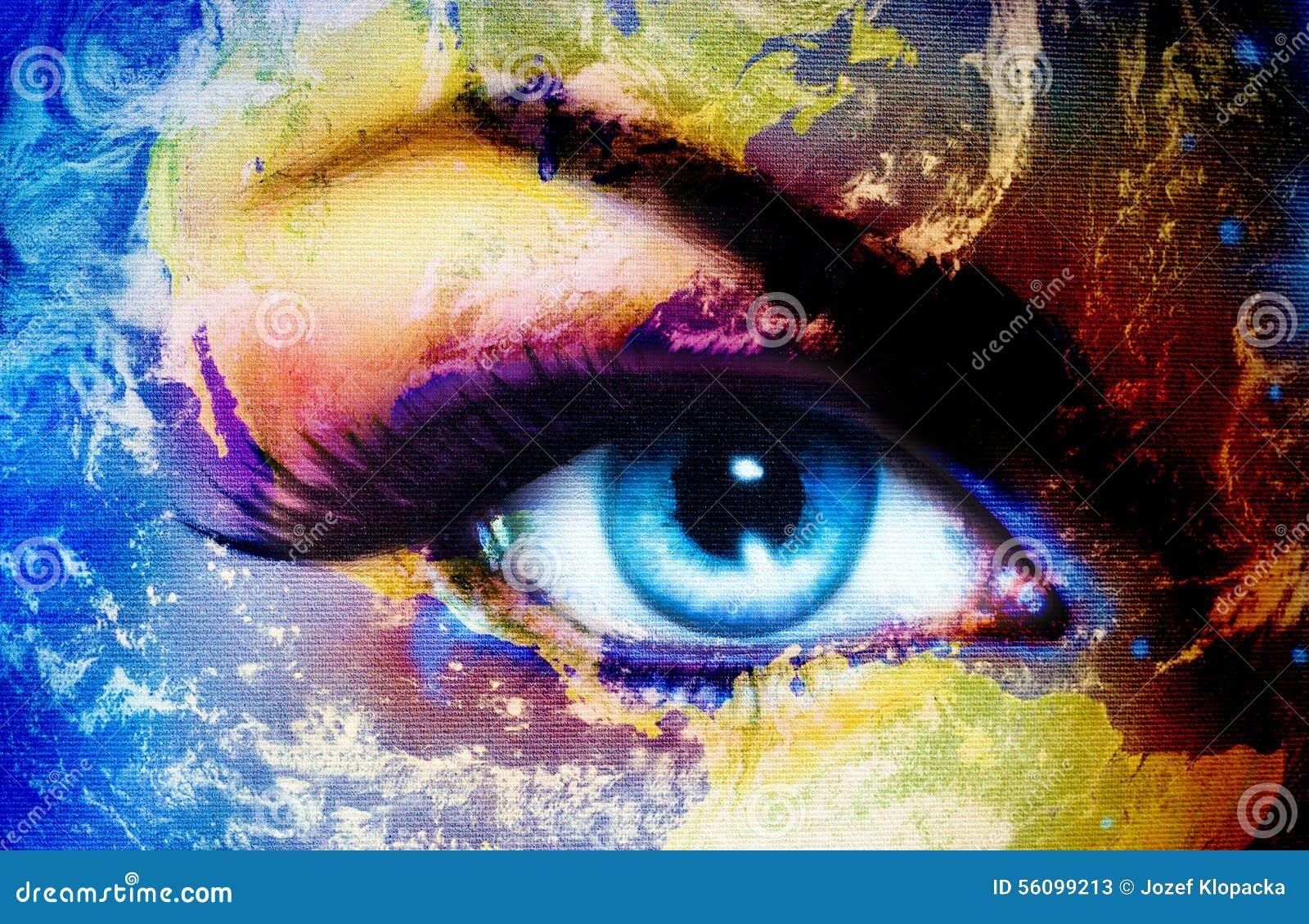 Peinture Dans L Oeil la terre de planète et oeil humain bleu avec le maquillage violet et