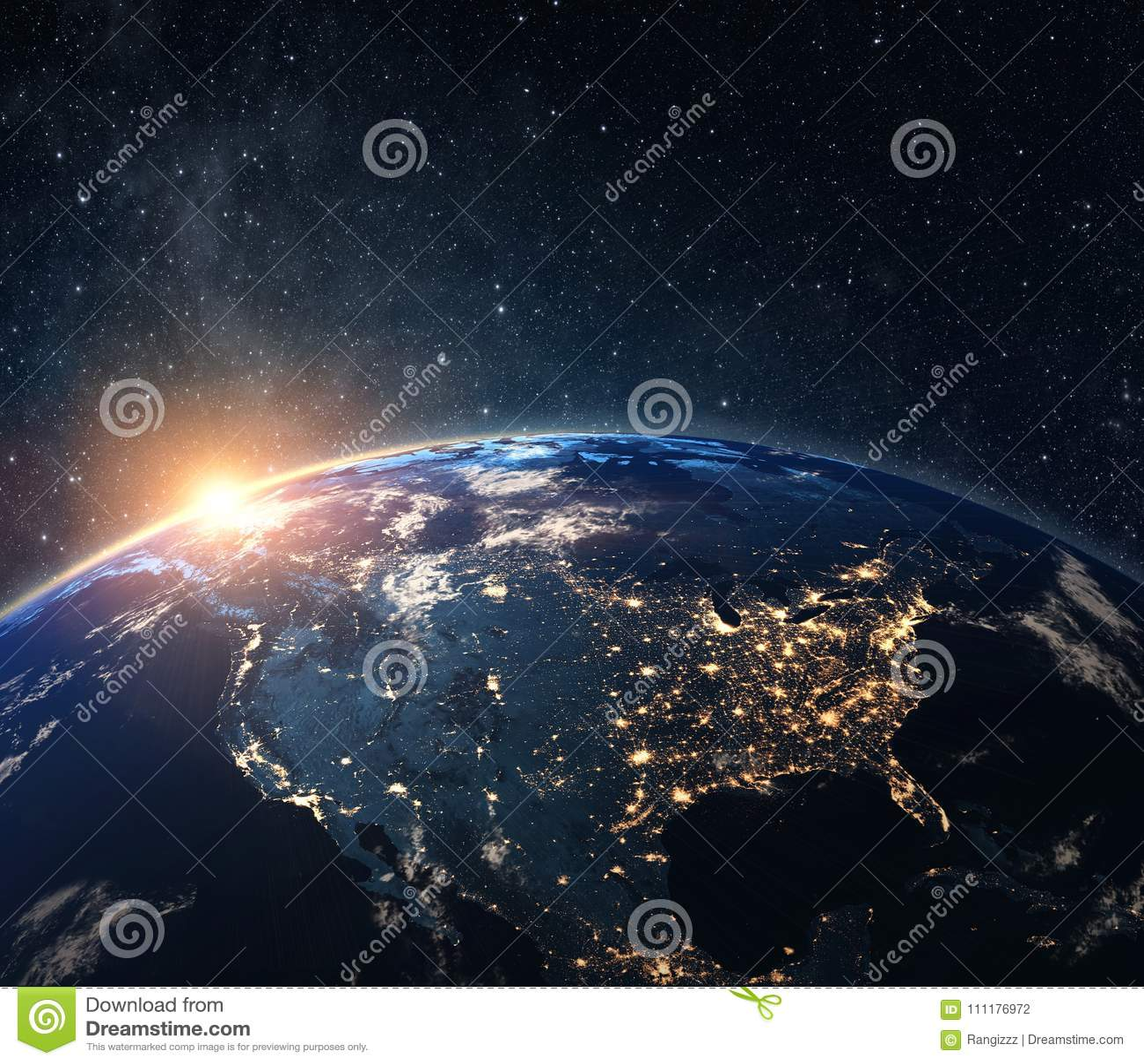 La terre de planète de l espace la nuit