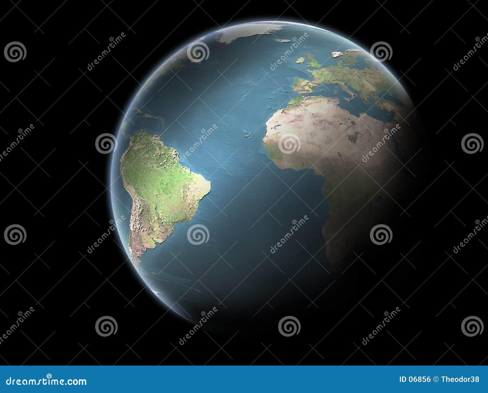 La terre de planète sans nuages