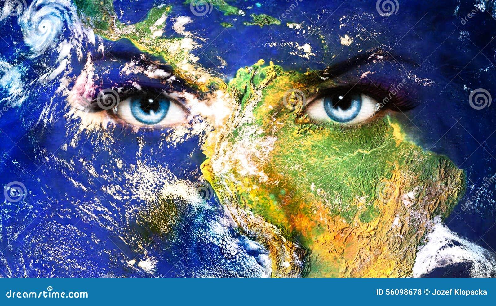 la terre de plan te et oeil humain bleu avec le maquillage. Black Bedroom Furniture Sets. Home Design Ideas