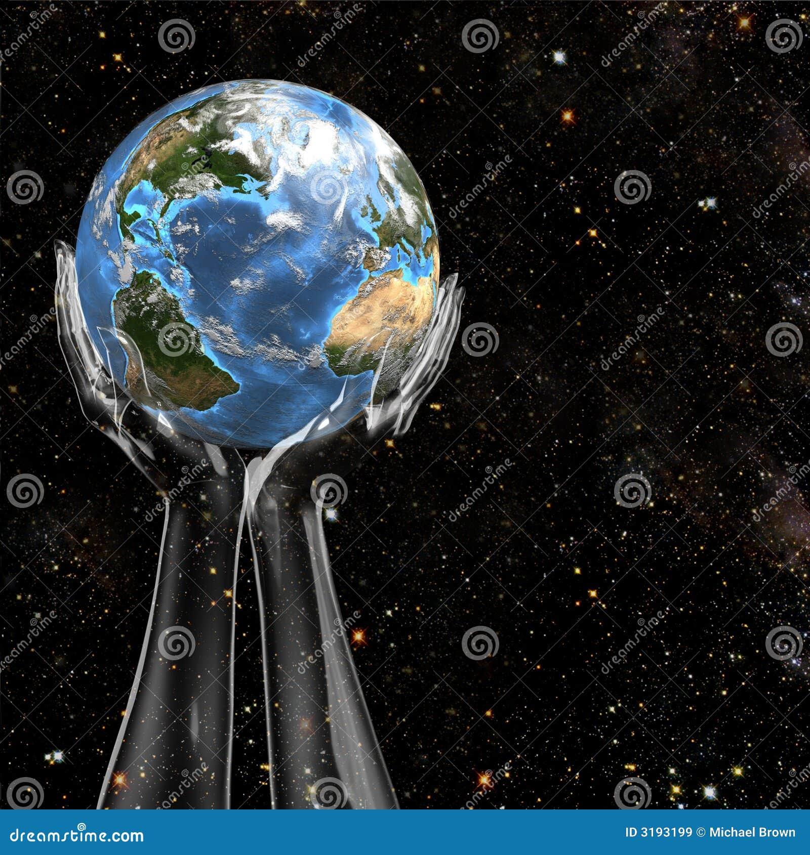 La terre de prise de mains dans l espace