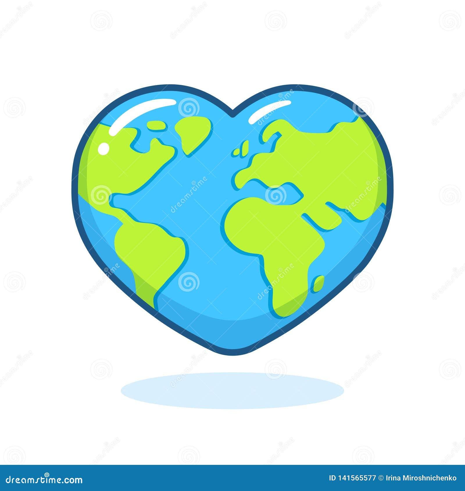 La Terre En Forme De Coeur Illustration De Vecteur Illustration Du Forme 141565577