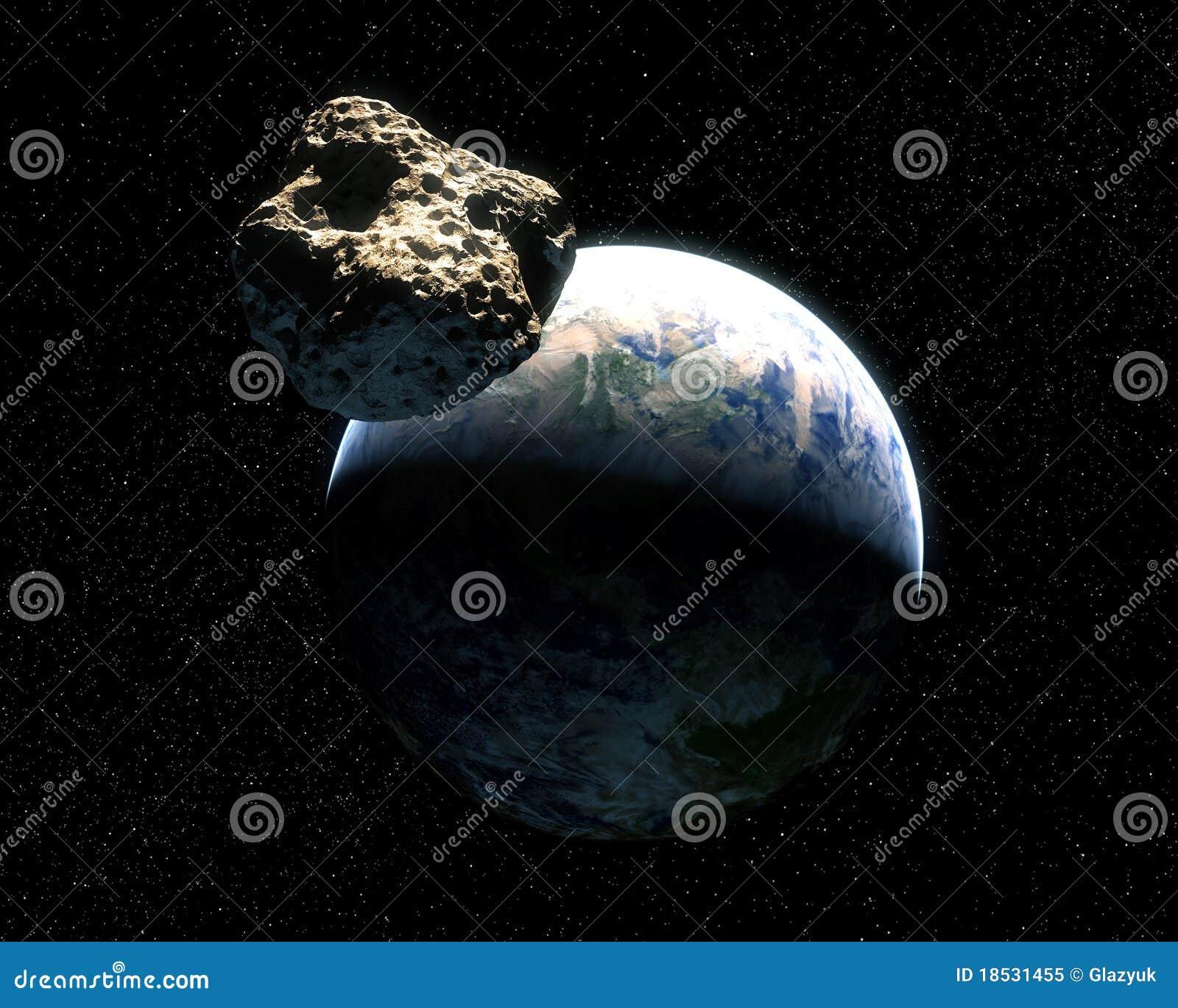 La terre et asteroïde