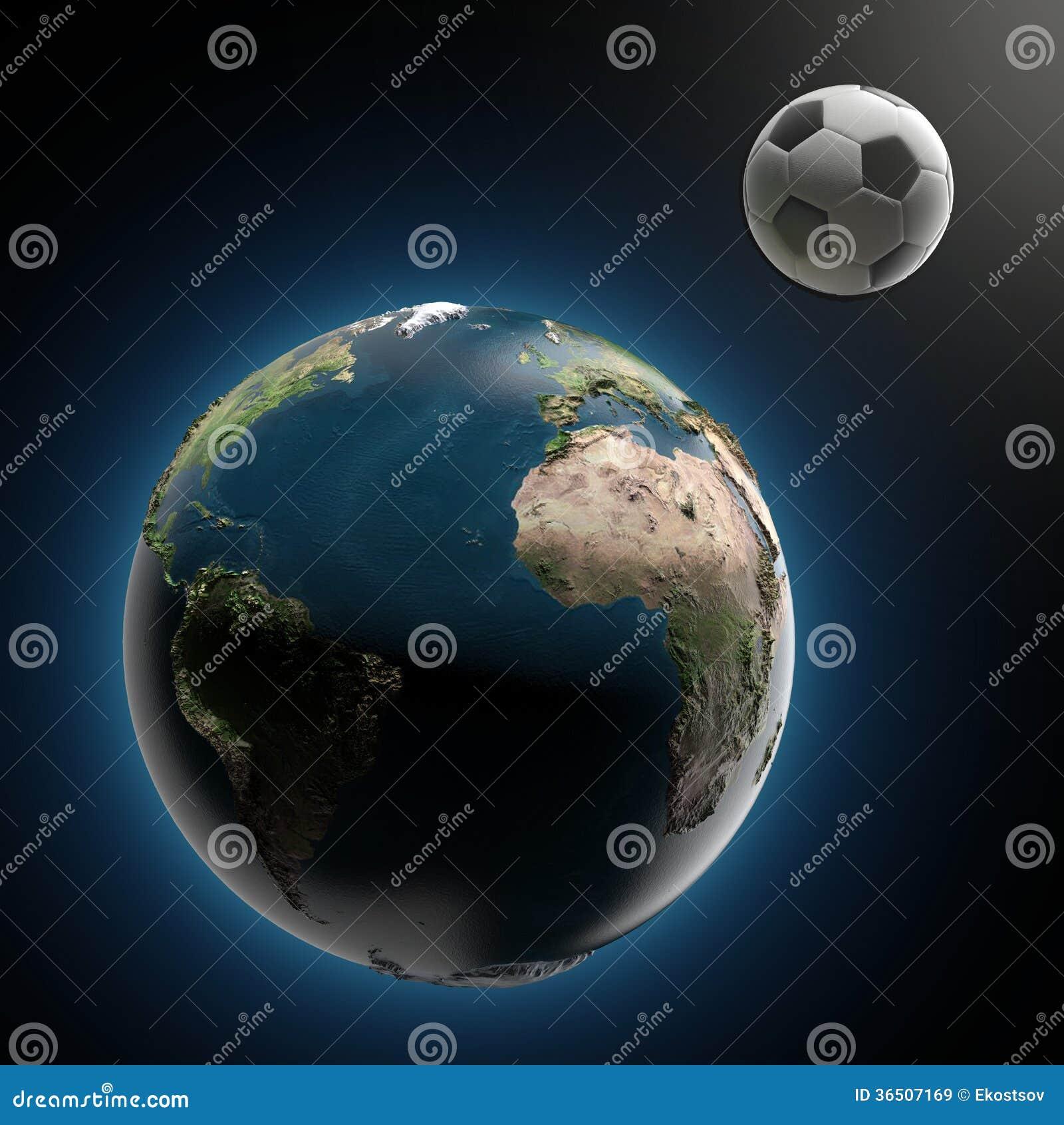 La terre et ballon de football (éléments meublés par la NASA)