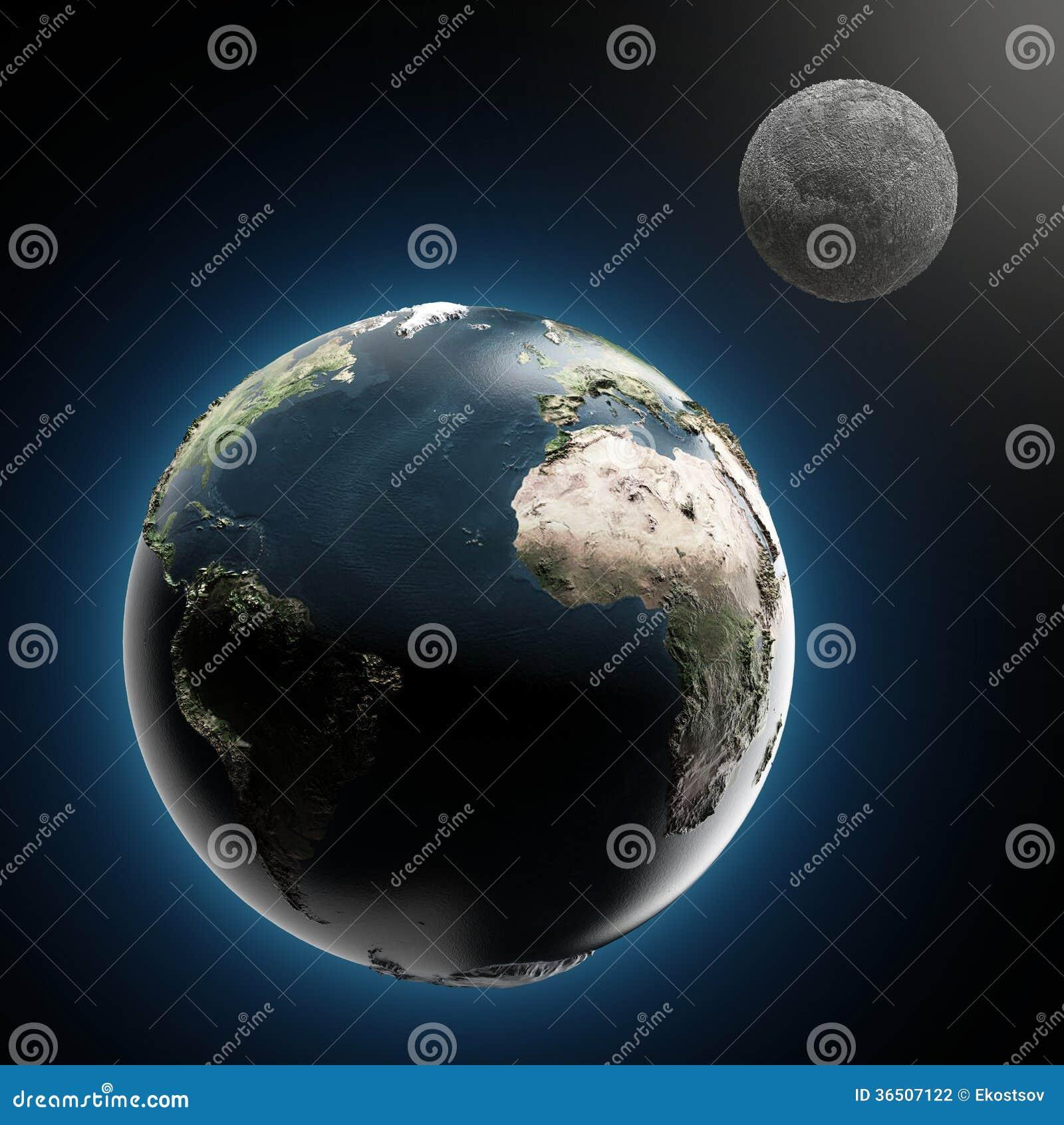 La terre et la lune (éléments meublés par la NASA)