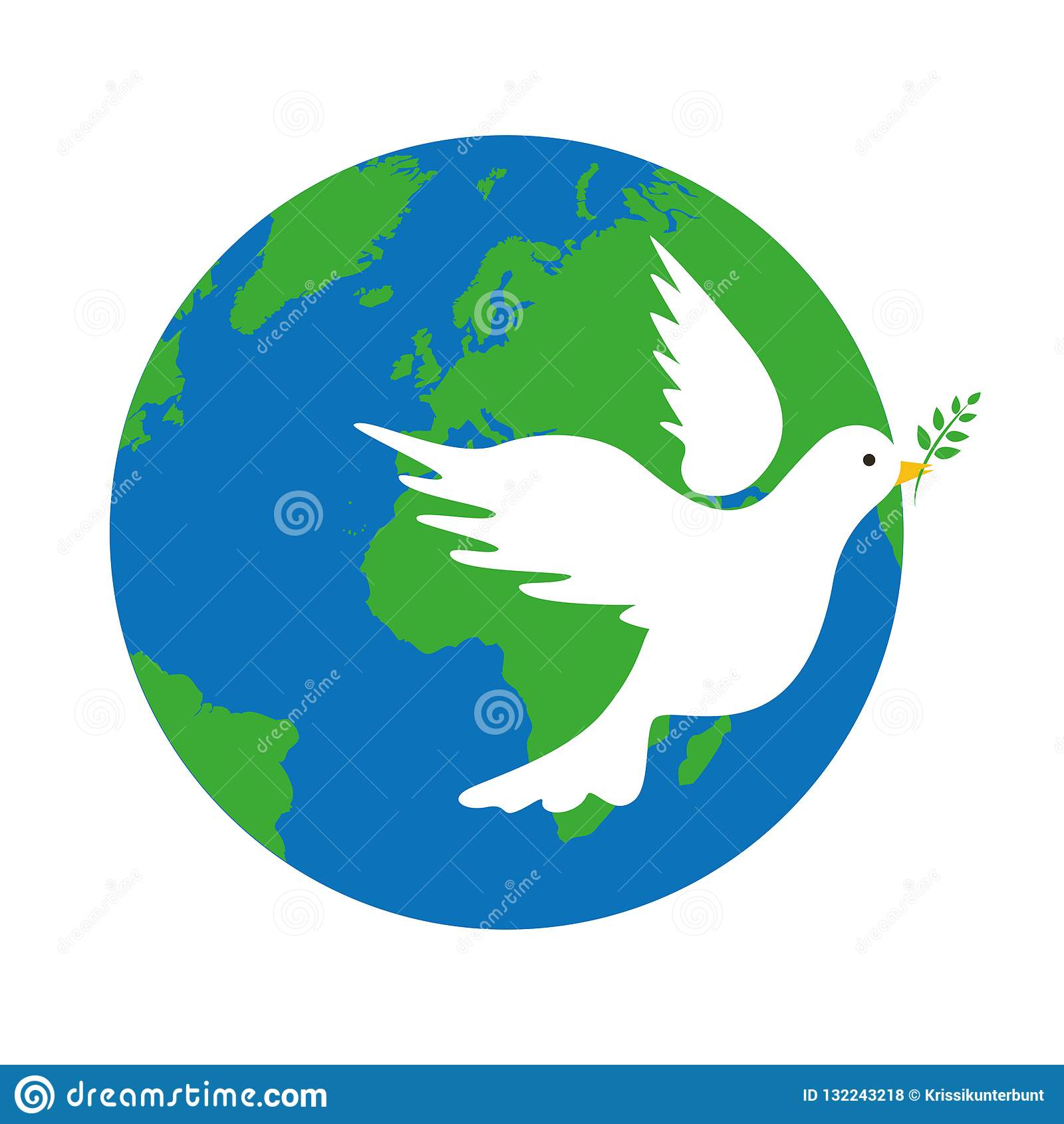 La terre et symbole de paix blanc de colombe