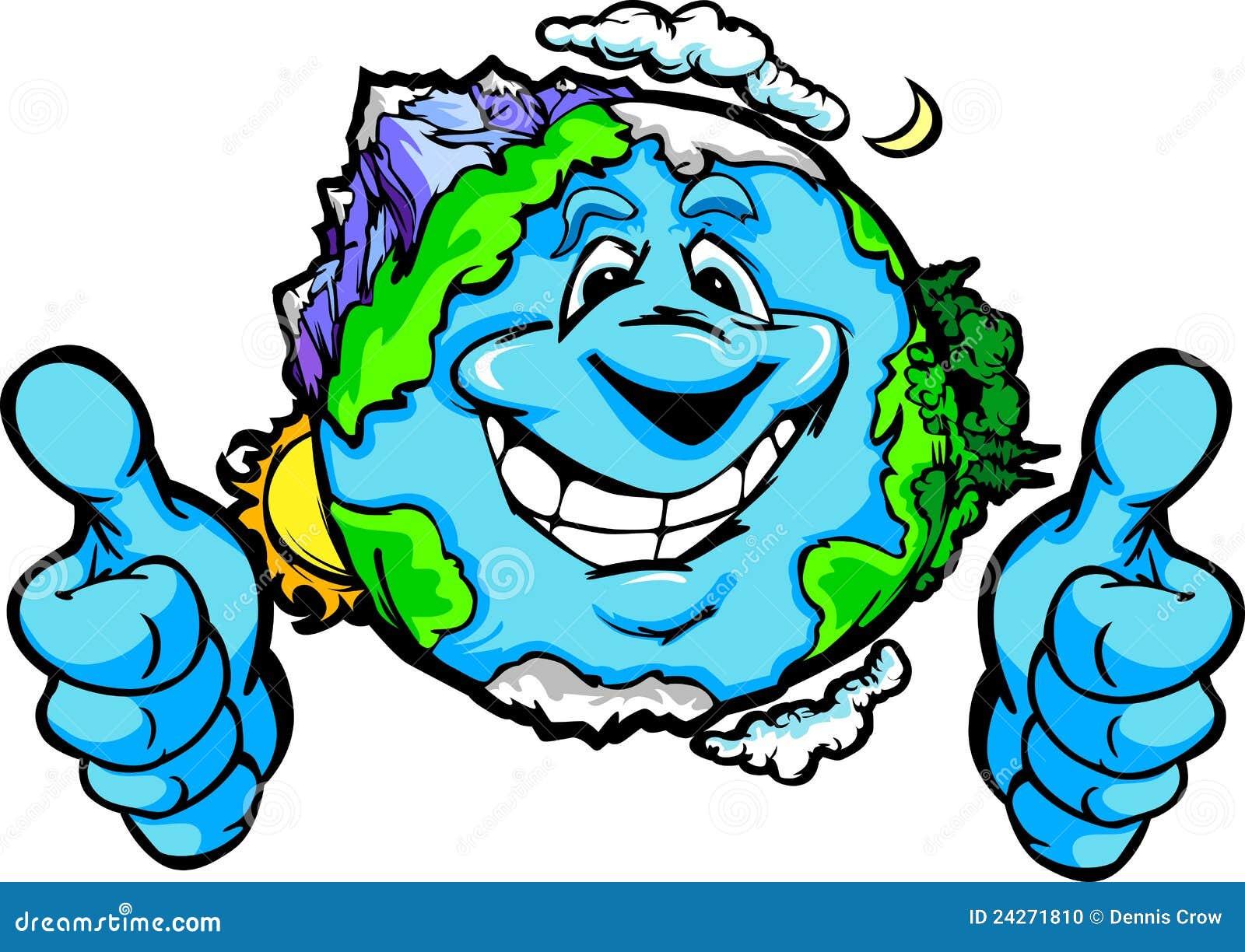 La Terre Heureuse De Planète Avec Des Pouces Lèvent Le Dessin Animé De Geste Photo Stock