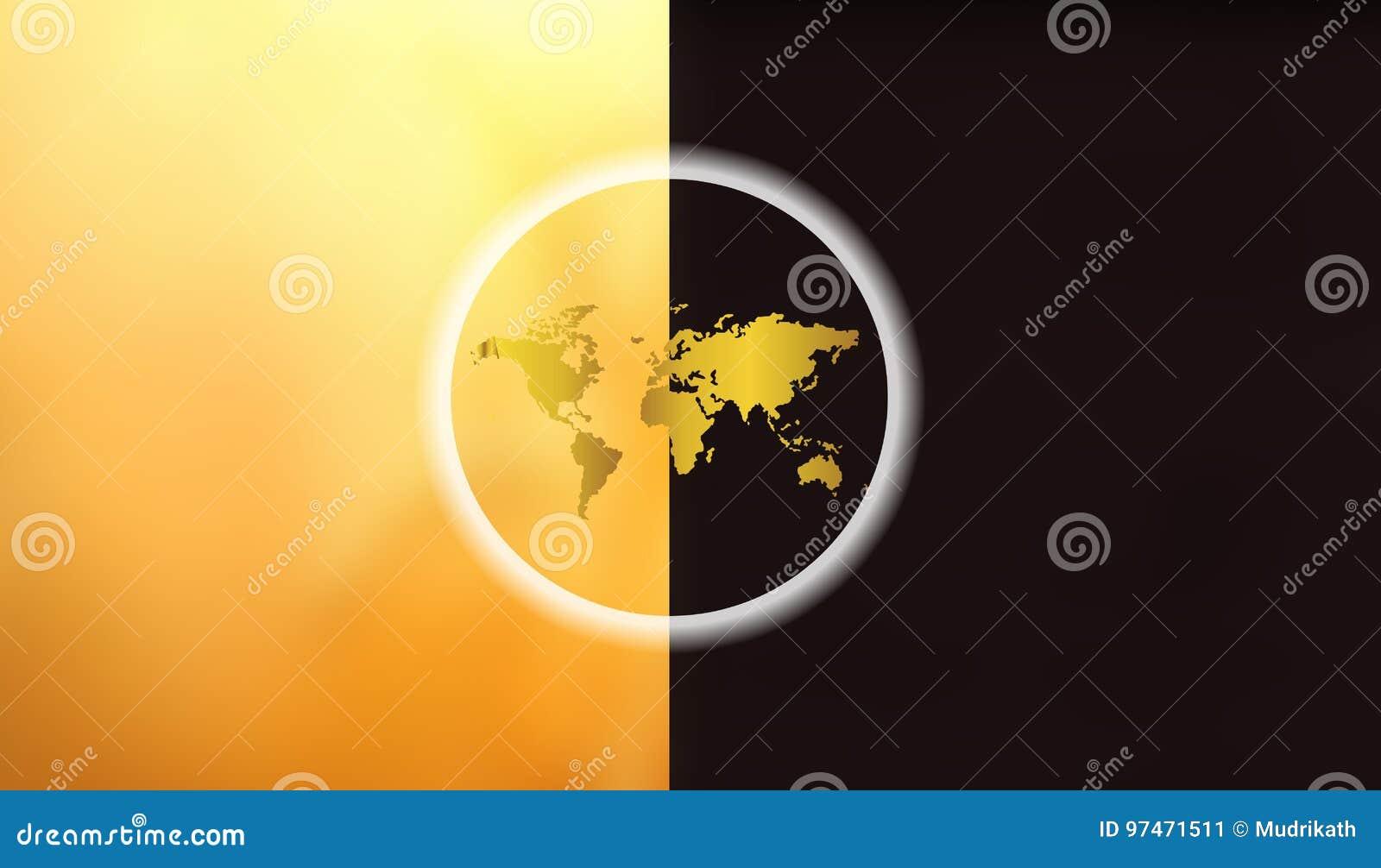 Carte Du Monde Jour Nuit.La Terre Jour Et Nuit A La Carte Du Monde Concept De Jour