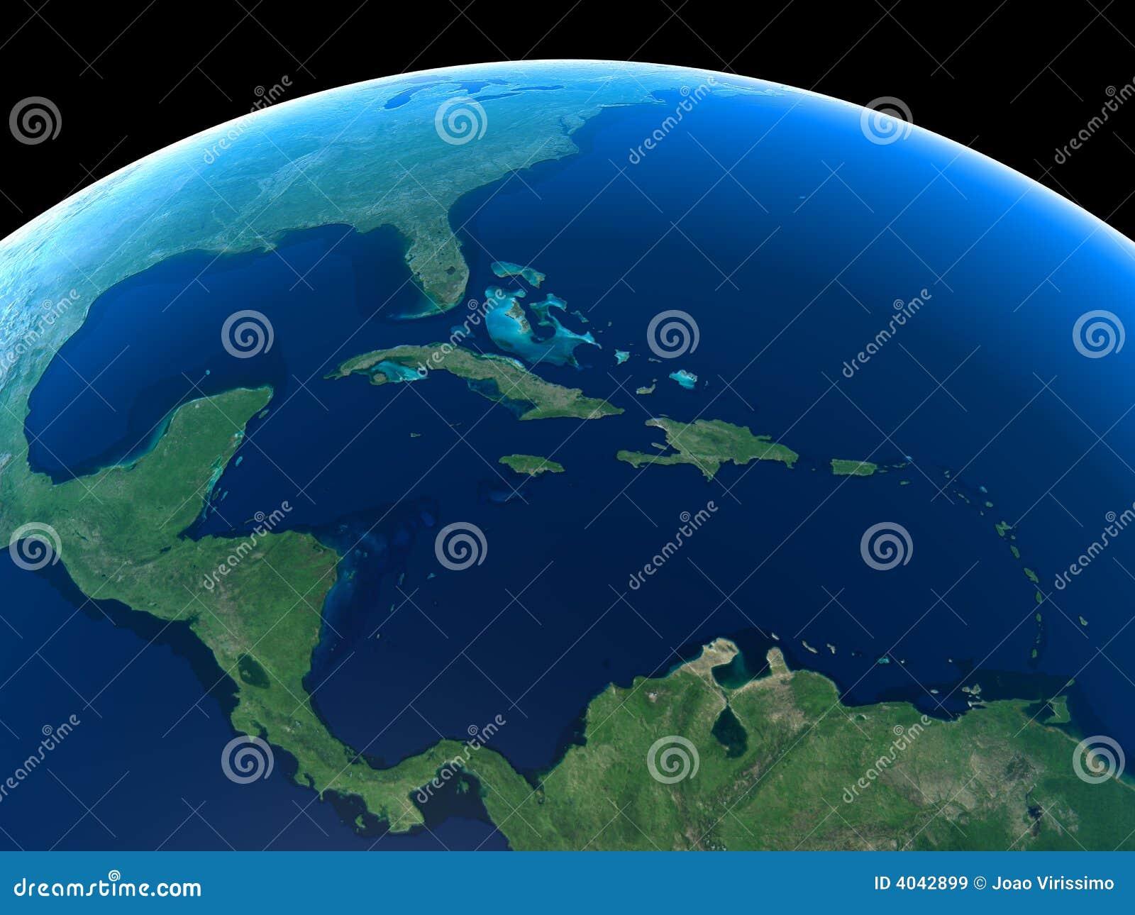 La terre - l Amérique Centrale et les Caraïbe