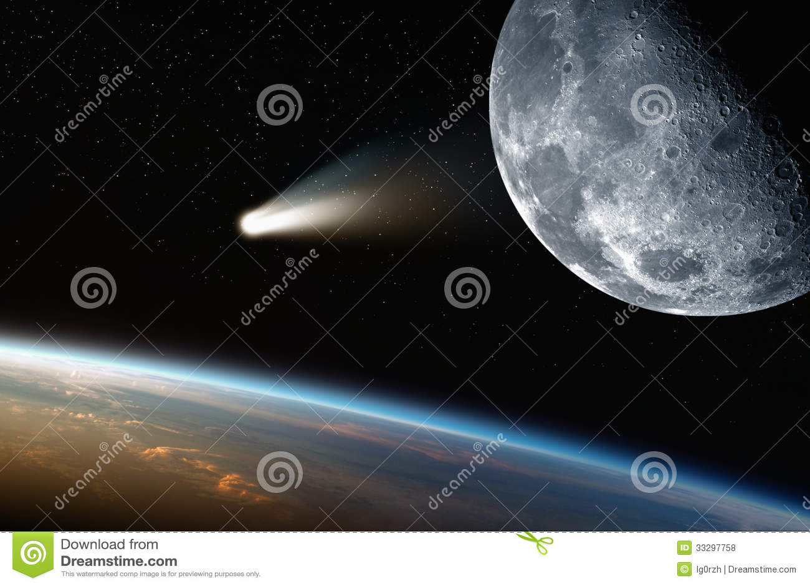 La terre, lune, comète dans l espace