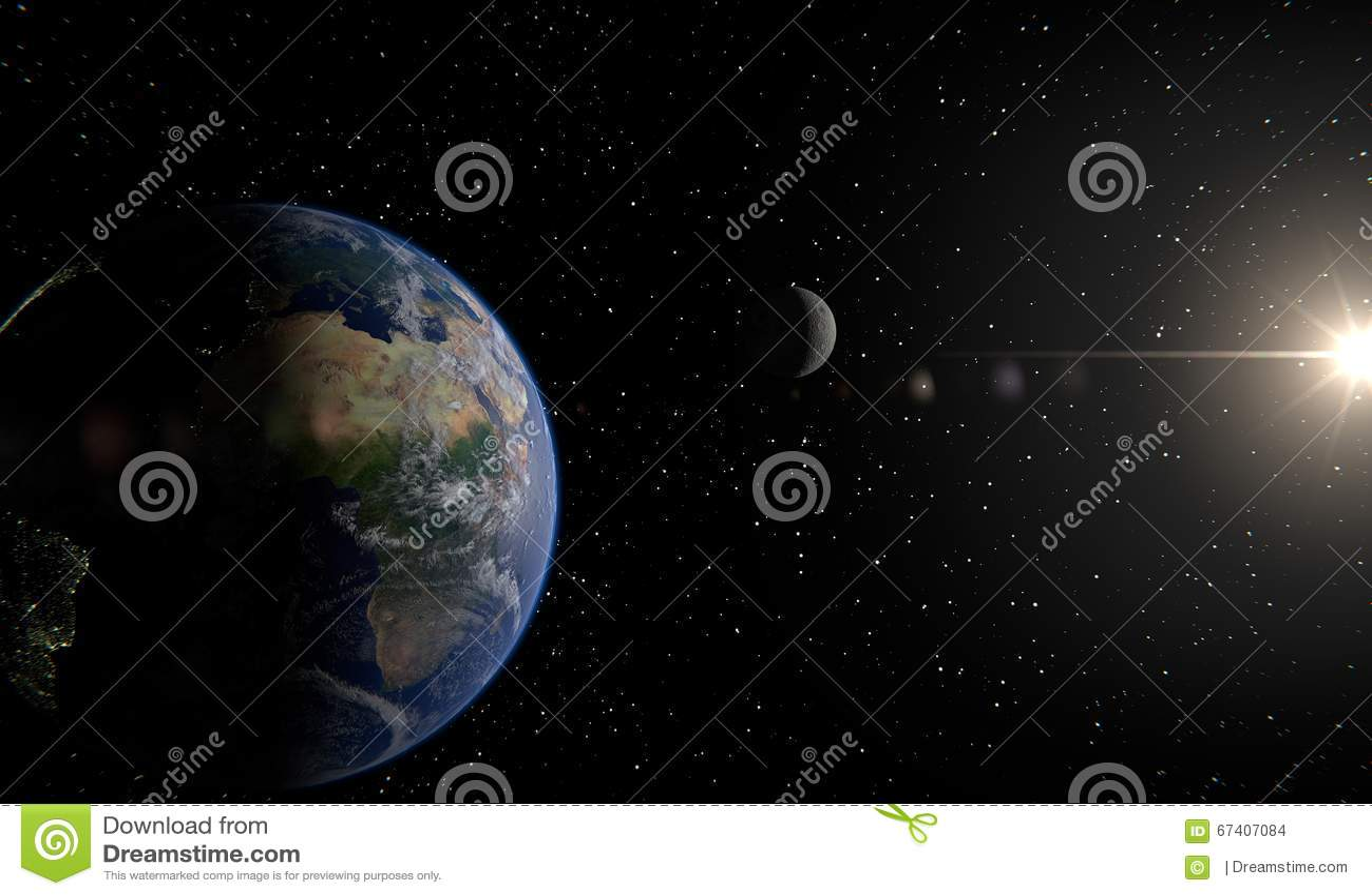 La terre, lune et soleil