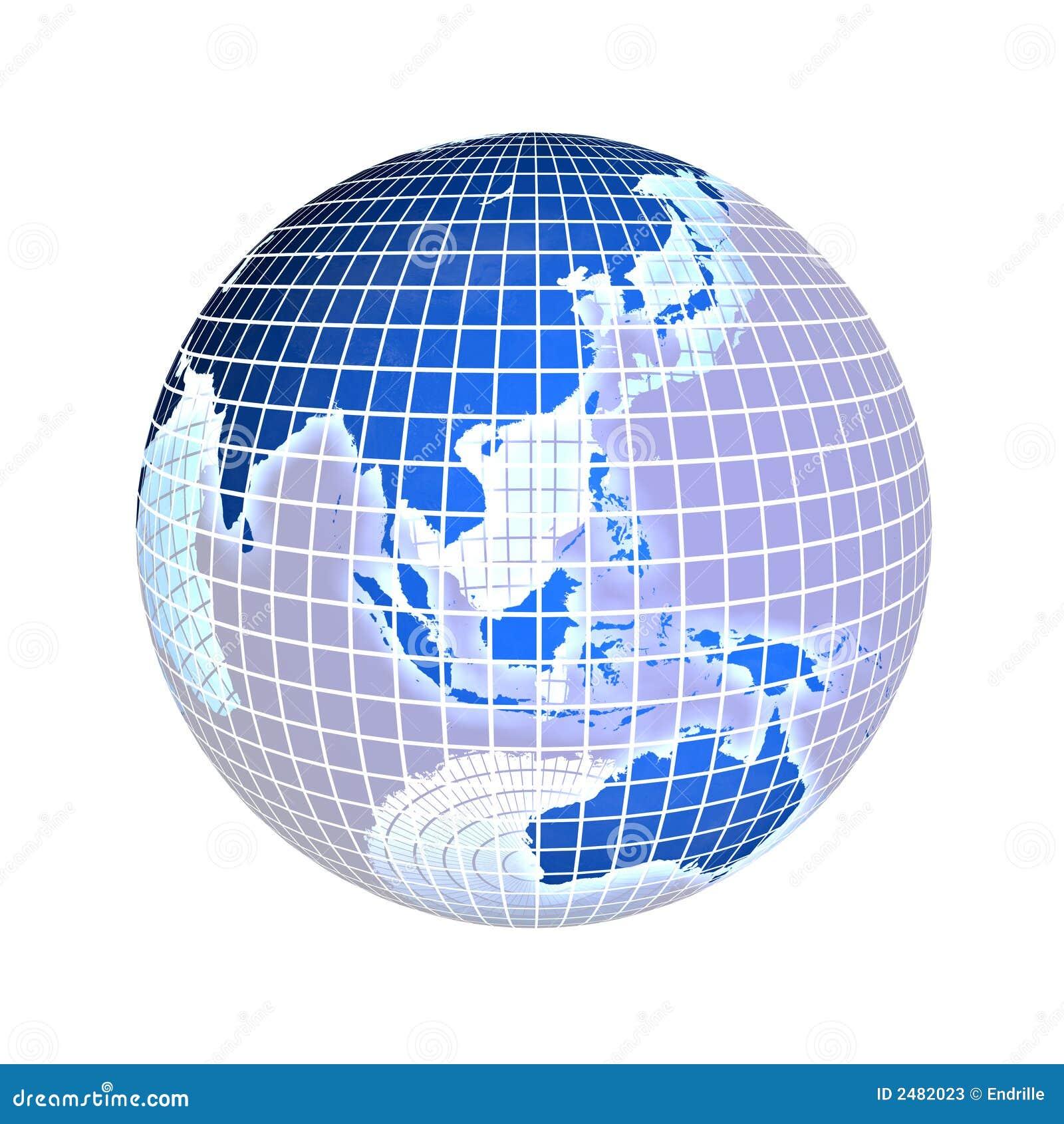 La terre, orientation sur l Asie, sur le blanc
