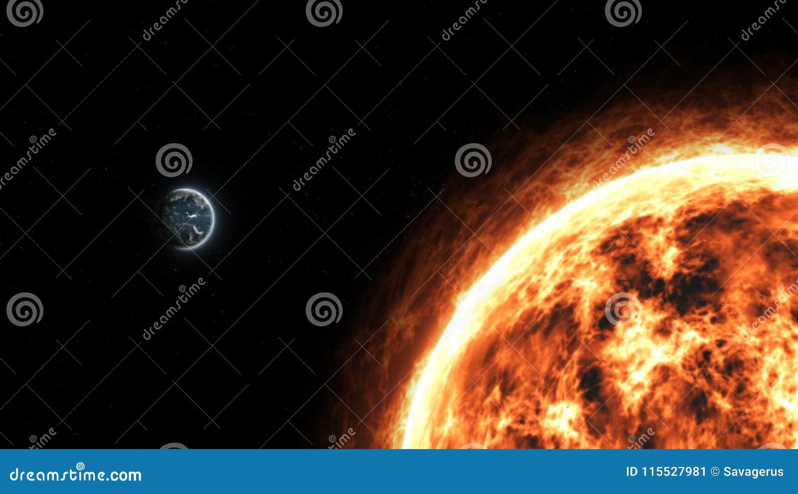 La terre réaliste et Sun de planète d espace lointain