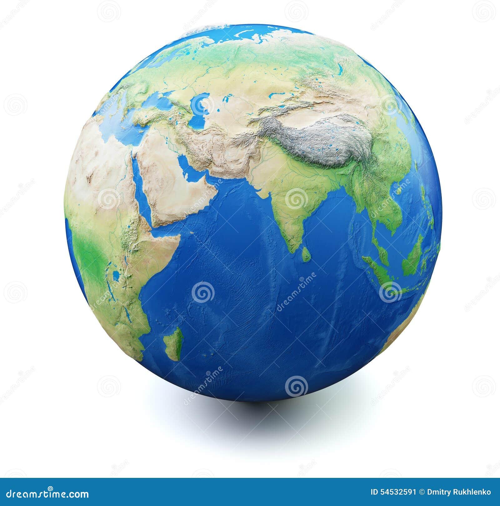 La terre sur le fond blanc