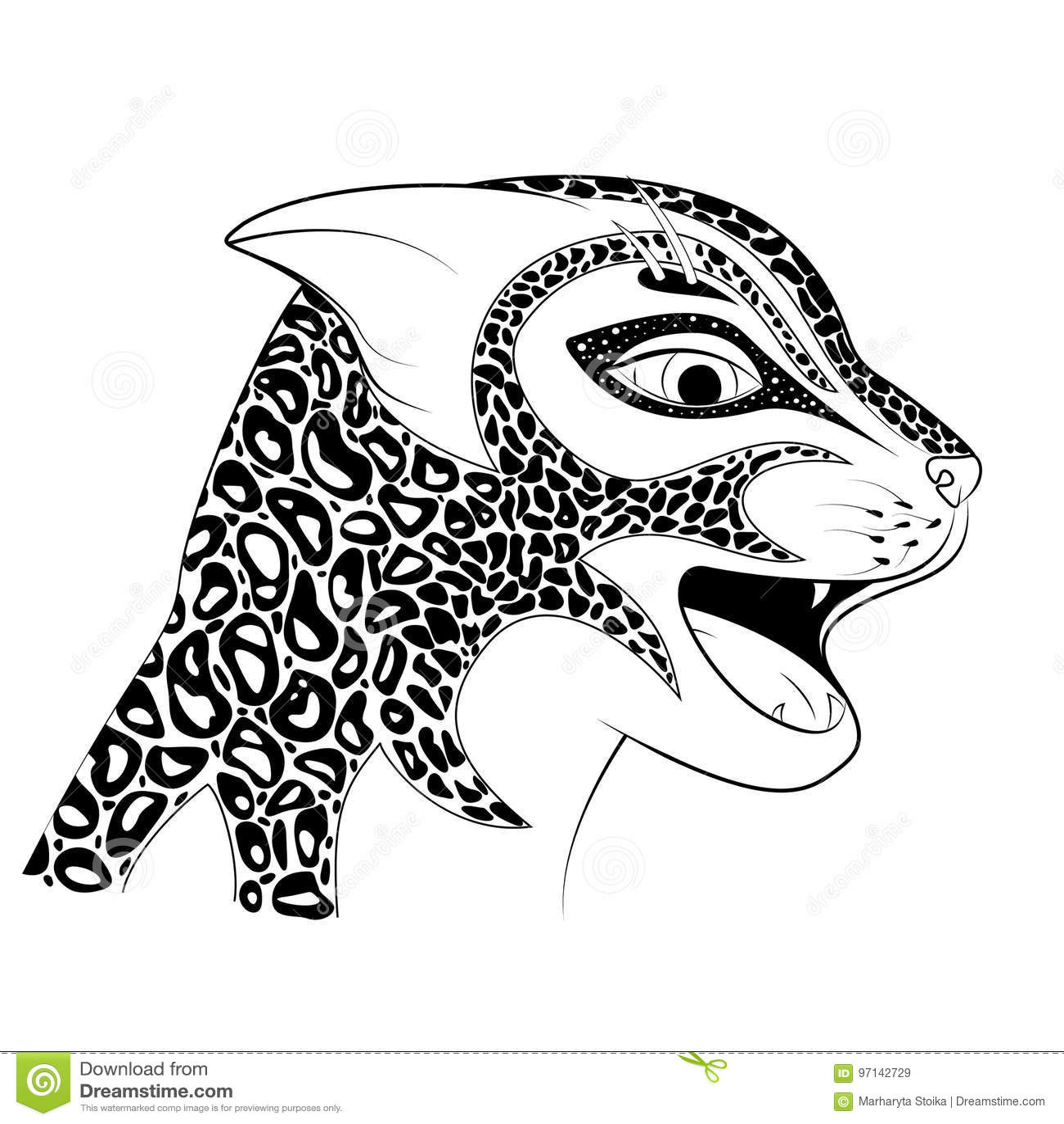 La Testa Di Un Gatto Selvaggio Zen Tangle Ha Macchiato Un Ghepardo