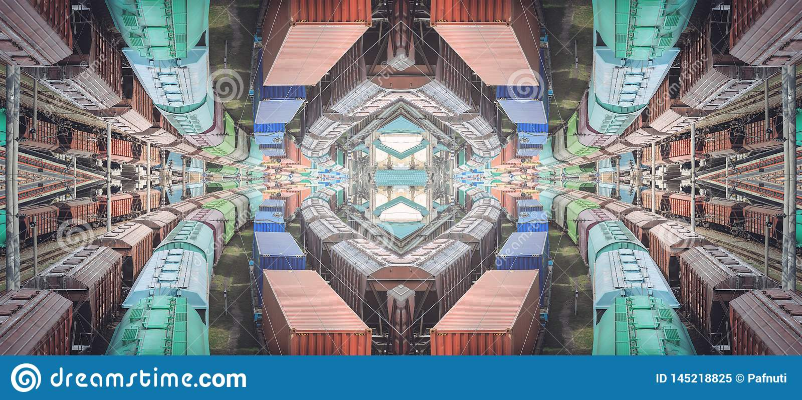 La textura abstracta del ferrocarril, entrecruza los trenes de ferrocarril