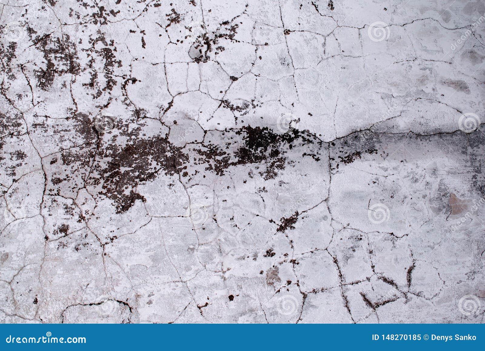 La textura del muro de cemento viejo se cubre con las grietas y las manchas del molde, fondo lamentable Papel pintado del estilo
