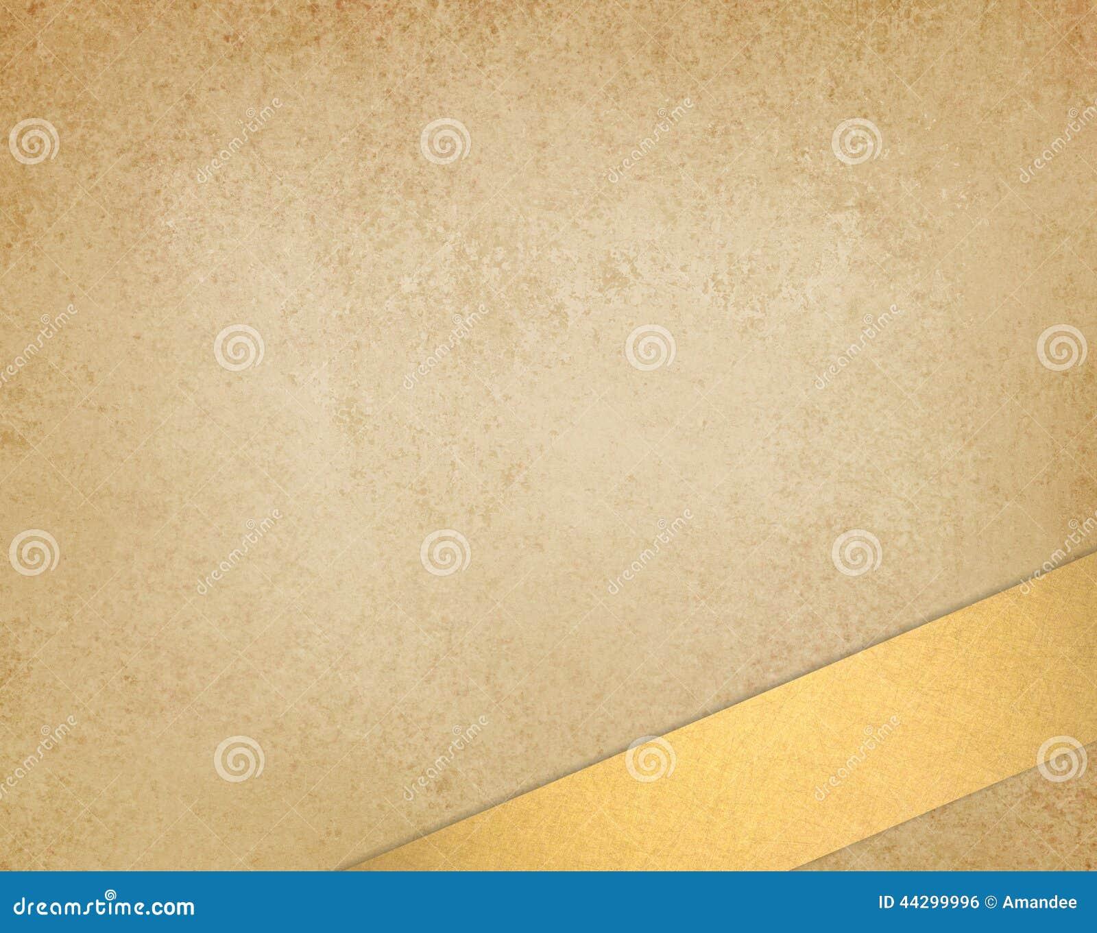 La texture brune ou beige d or léger l or de vintage d exposé introductif et ont pêché la rayure de ruban à la frontière inférieu