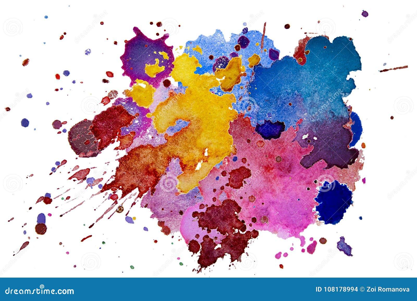 La texture multicolore d éclaboussure d aquarelle éponge le fond d isolement Goutte tirée par la main grunge, tache et gouttelett
