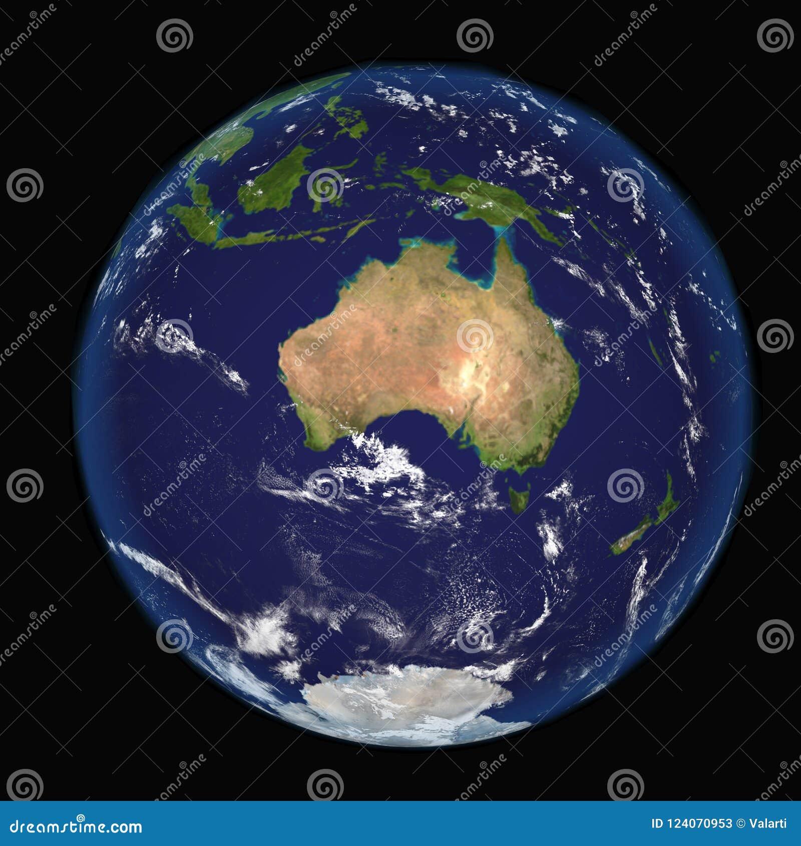 La tierra del espacio que muestra Australia e Indonesia Imagen extremadamente detallada incluyendo los elementos equipados por la
